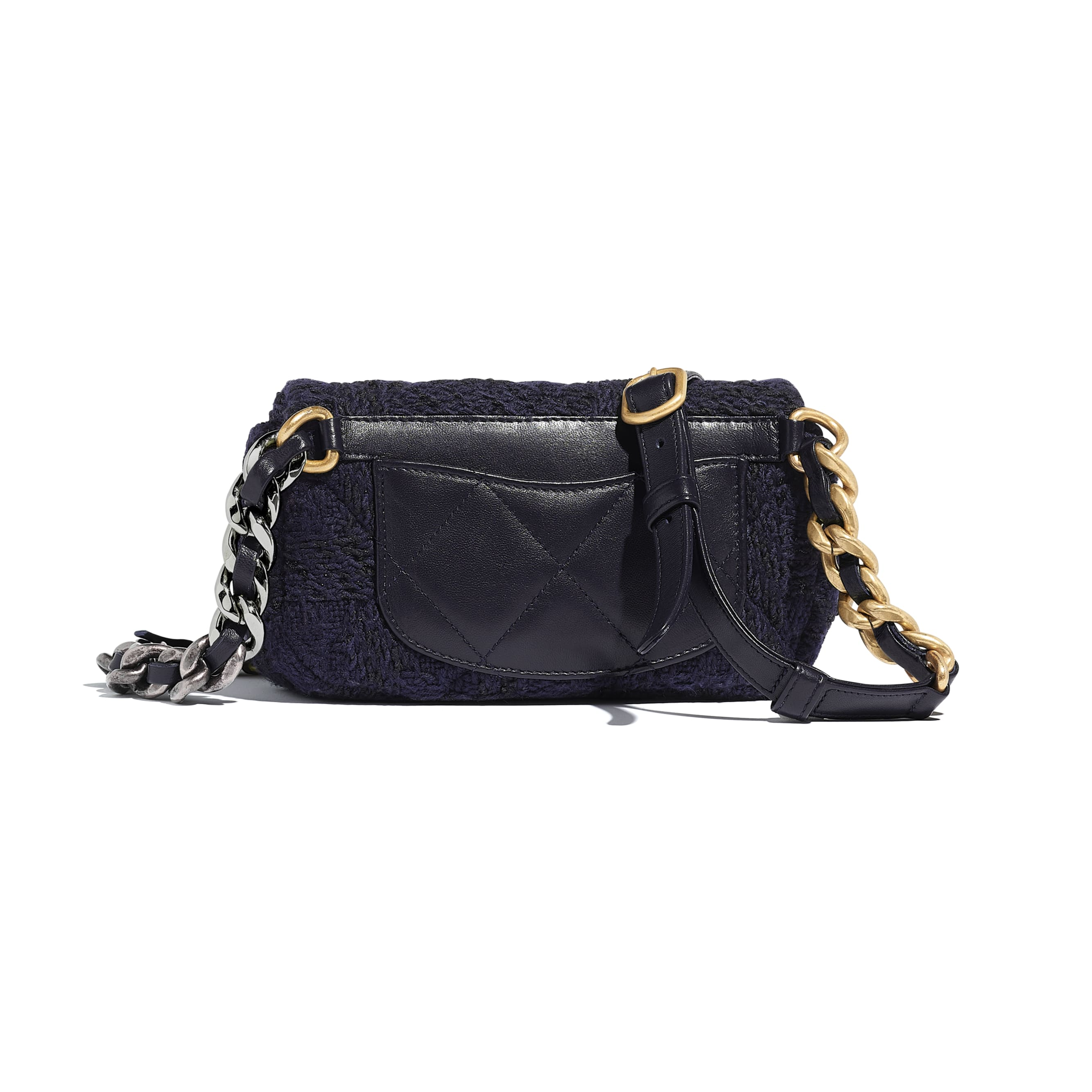 CHANEL 19 Waist Bag - Navy Blue & Black - Wool Tweed, Gold-Tone, Silver-Tone & Ruthenium-Finish Metal - Alternative view - see standard sized version