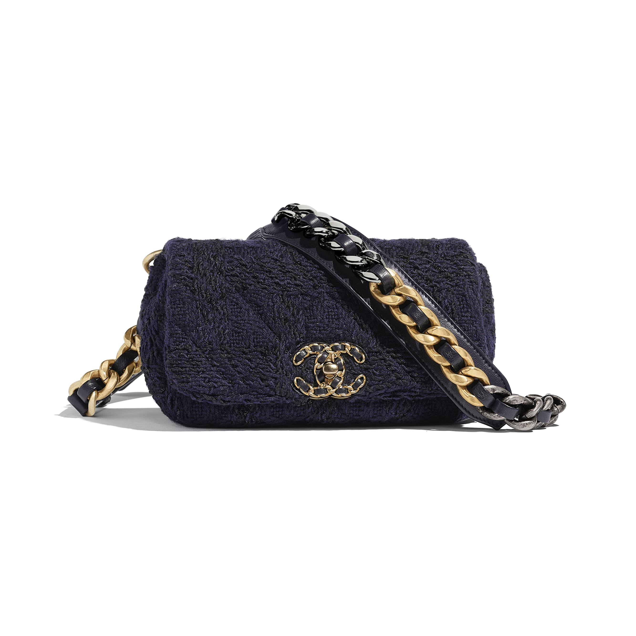 CHANEL 19 Waist Bag - Navy Blue & Black - Wool Tweed, Gold-Tone, Silver-Tone & Ruthenium-Finish Metal - Default view - see standard sized version
