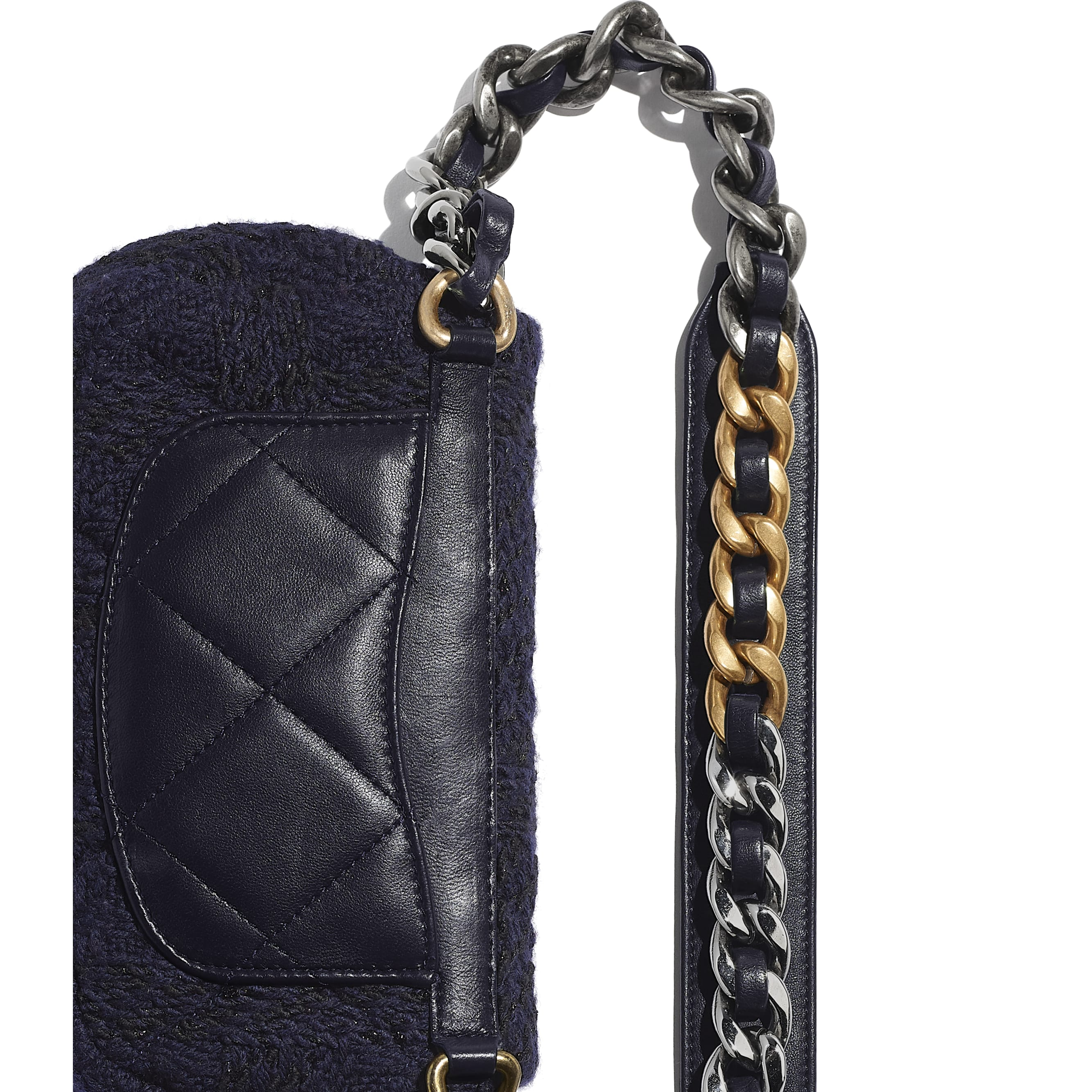 CHANEL 19 Waist Bag - Navy Blue & Black - Wool Tweed, Gold-Tone, Silver-Tone & Ruthenium-Finish Metal - Extra view - see standard sized version