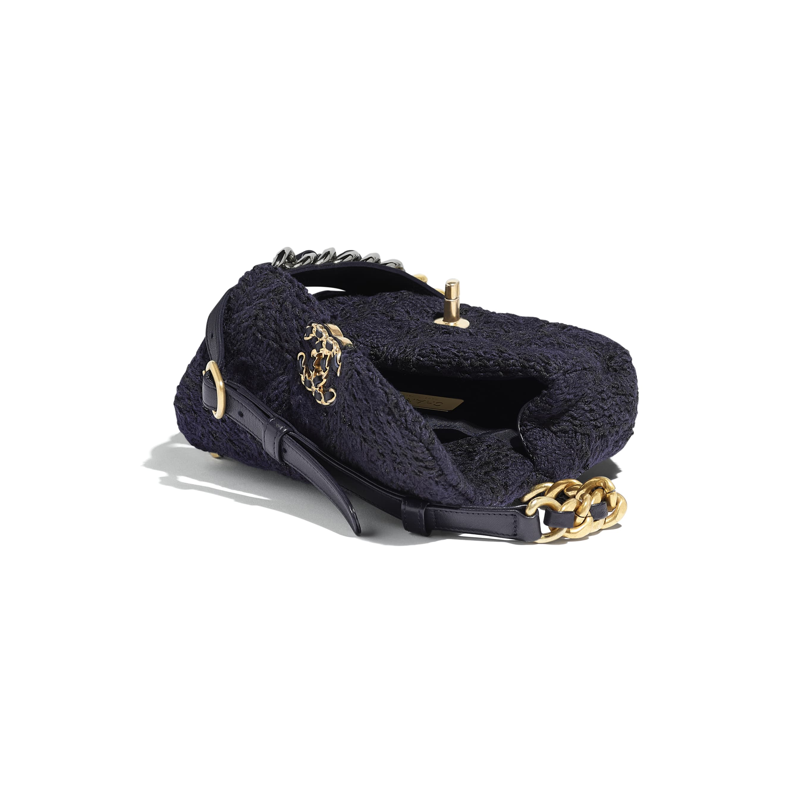 CHANEL 19 Waist Bag - Navy Blue & Black - Wool Tweed, Gold-Tone, Silver-Tone & Ruthenium-Finish Metal - Other view - see standard sized version