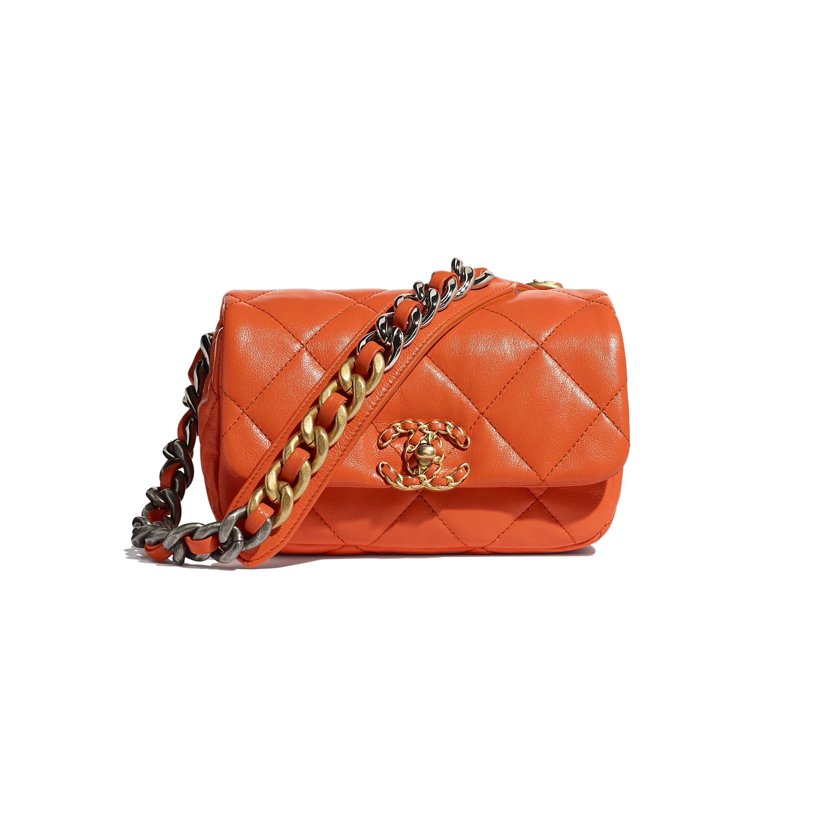 CHANEL 19 Waist Bag - Orange - Lambskin, Gold-Tone, Silver-Tone & Ruthenium-Finish Metal - Default view - see standard sized version