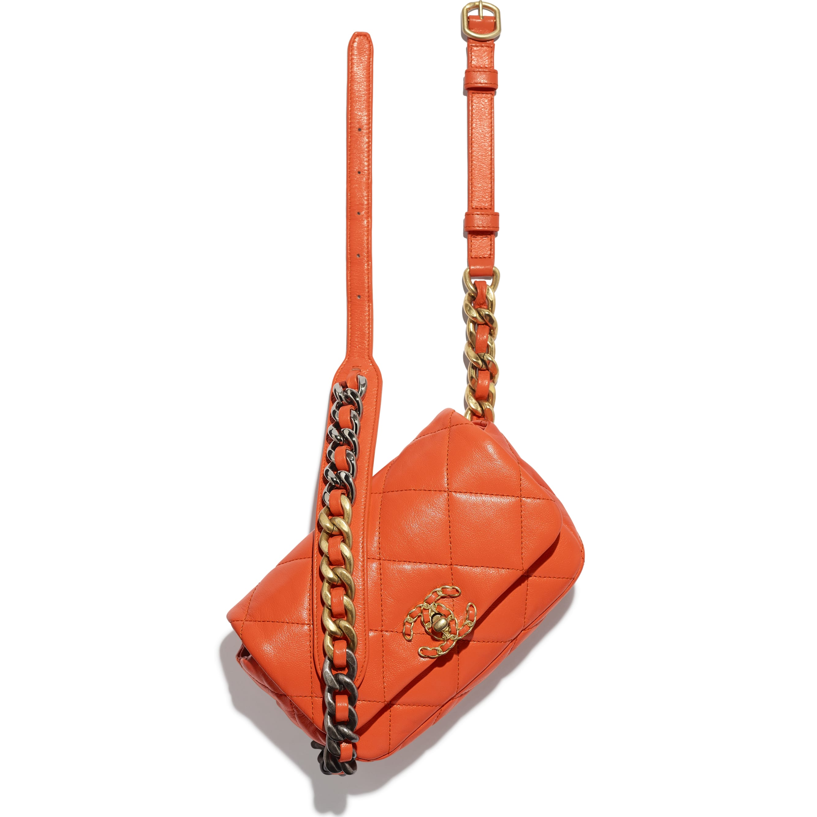 CHANEL 19 Waist Bag - Orange - Lambskin, Gold-Tone, Silver-Tone & Ruthenium-Finish Metal - Extra view - see standard sized version