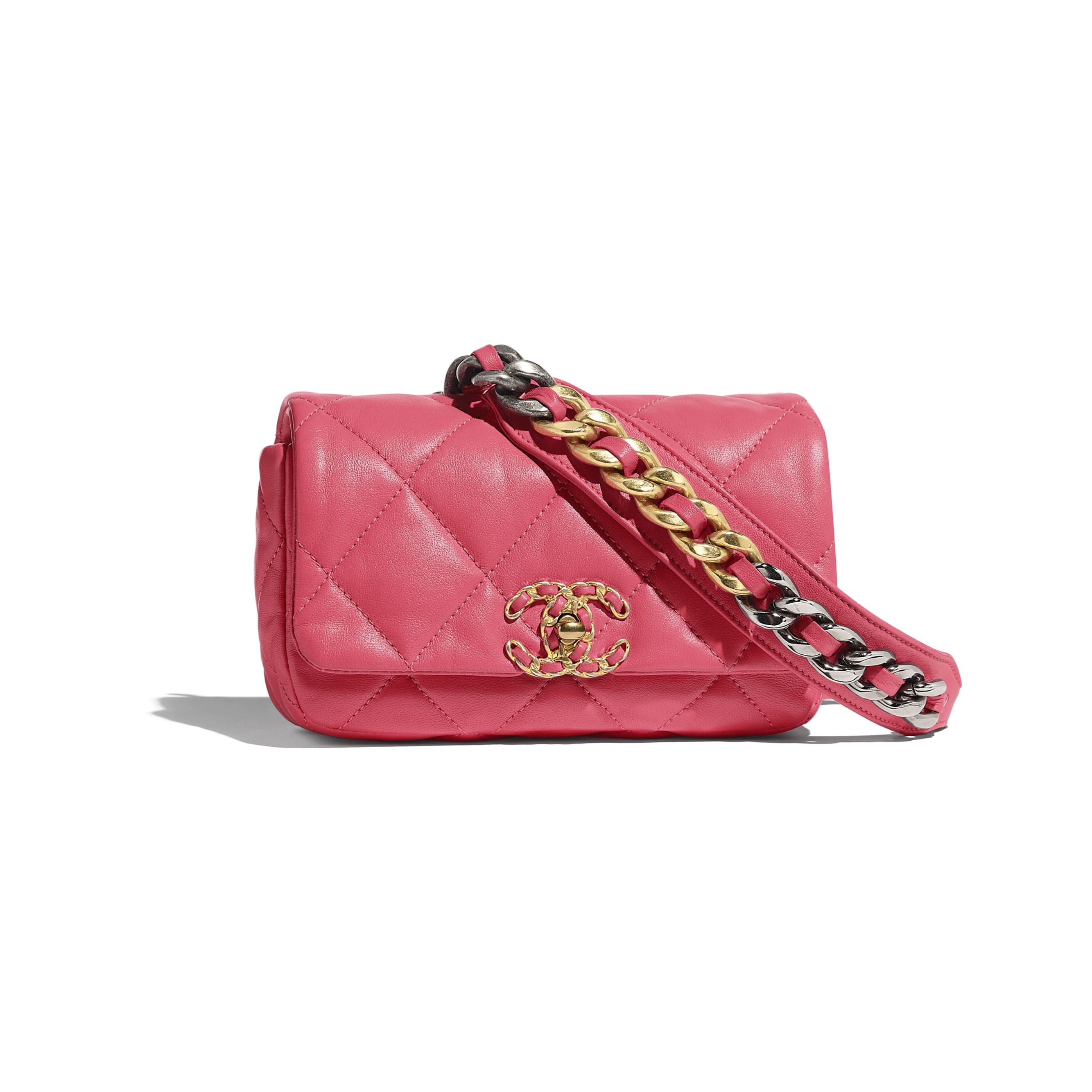 CHANEL 19 Waist Bag - Pink - Lambskin, Gold-Tone, Silver-Tone & Ruthenium-Finish Metal - CHANEL - Default view - see standard sized version