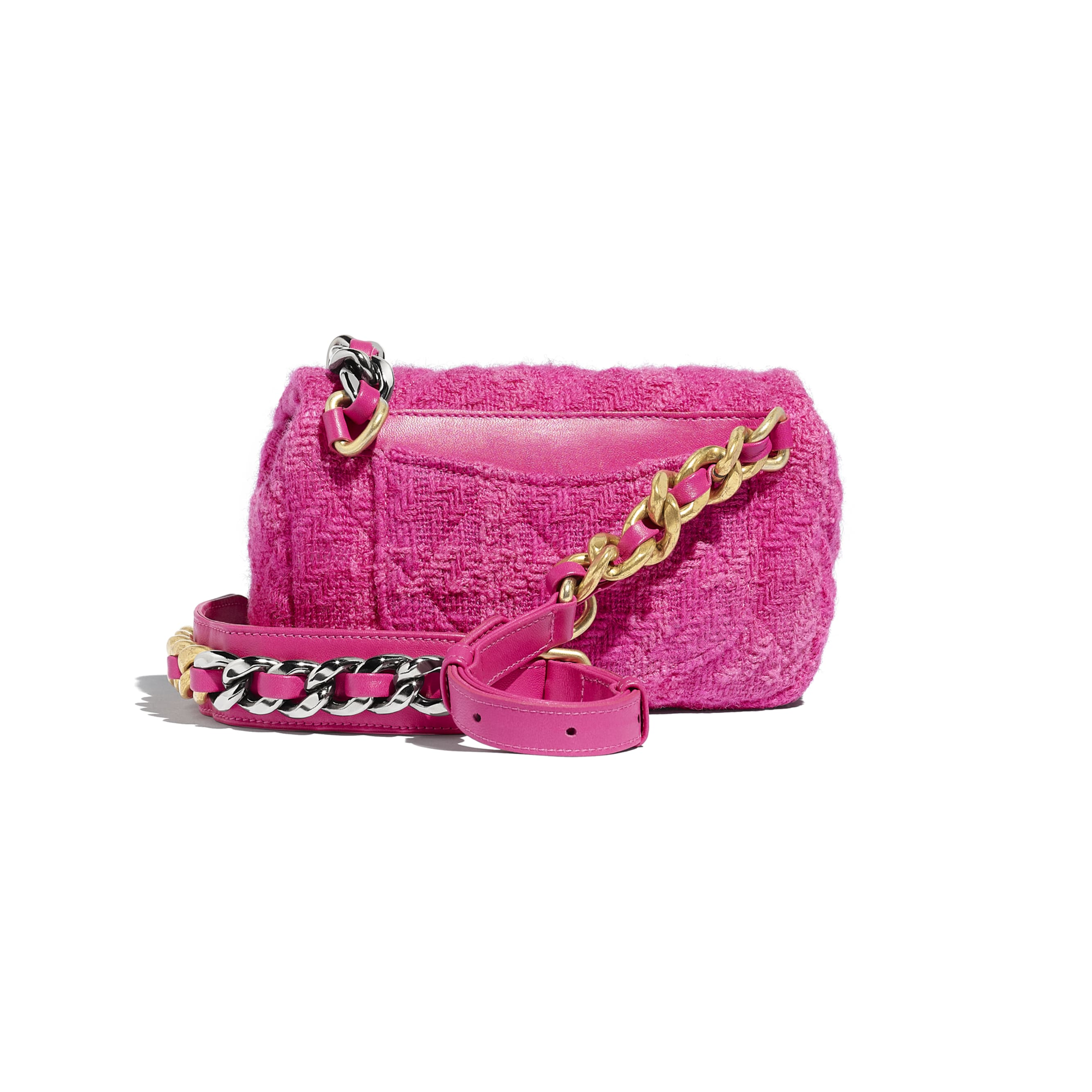 CHANEL 19 Waist Bag - Pink - Wool Tweed, Gold-Tone, Silver-Tone & Ruthenium-Finish Metal - Alternative view - see standard sized version