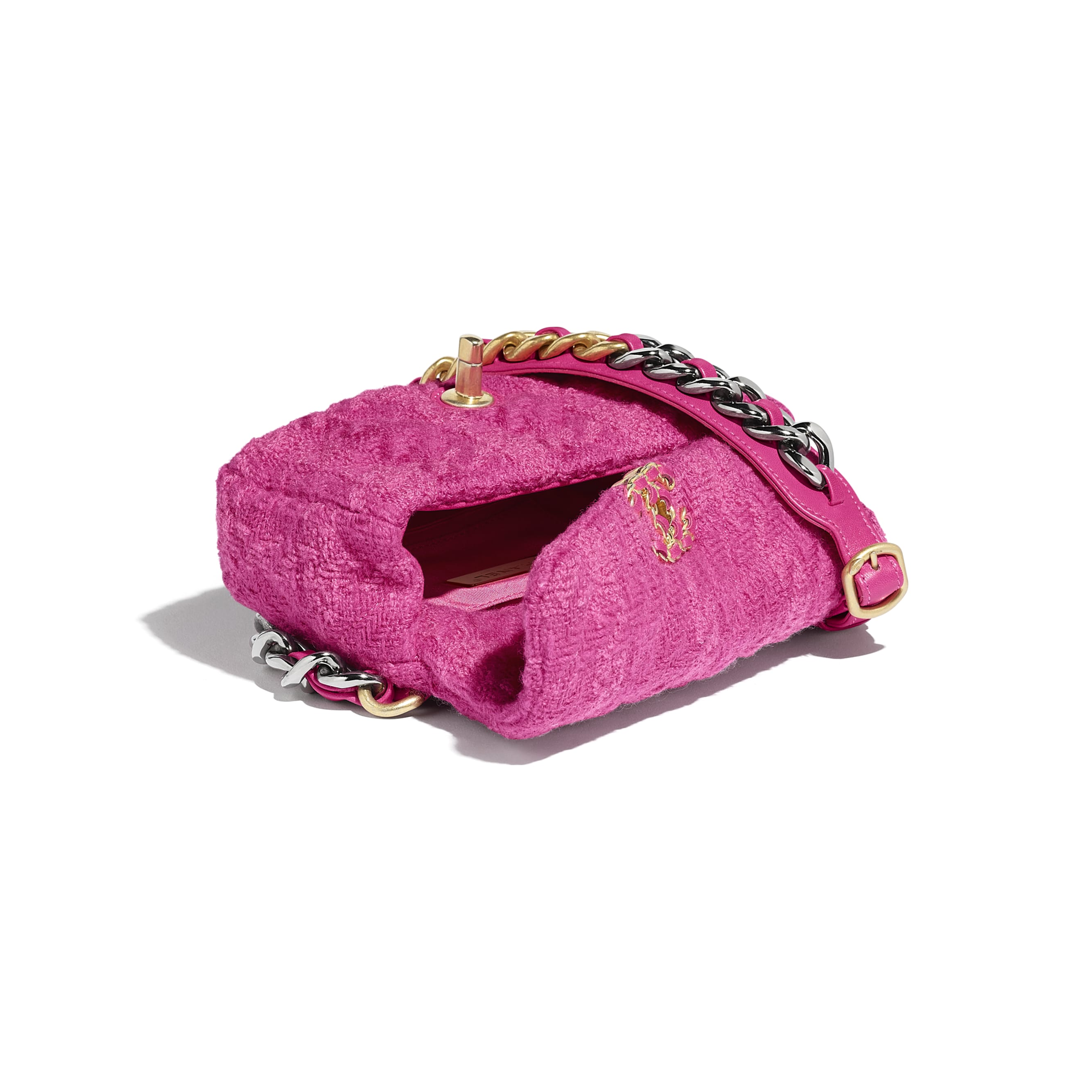 CHANEL 19 Waist Bag - Pink - Wool Tweed, Gold-Tone, Silver-Tone & Ruthenium-Finish Metal - Other view - see standard sized version