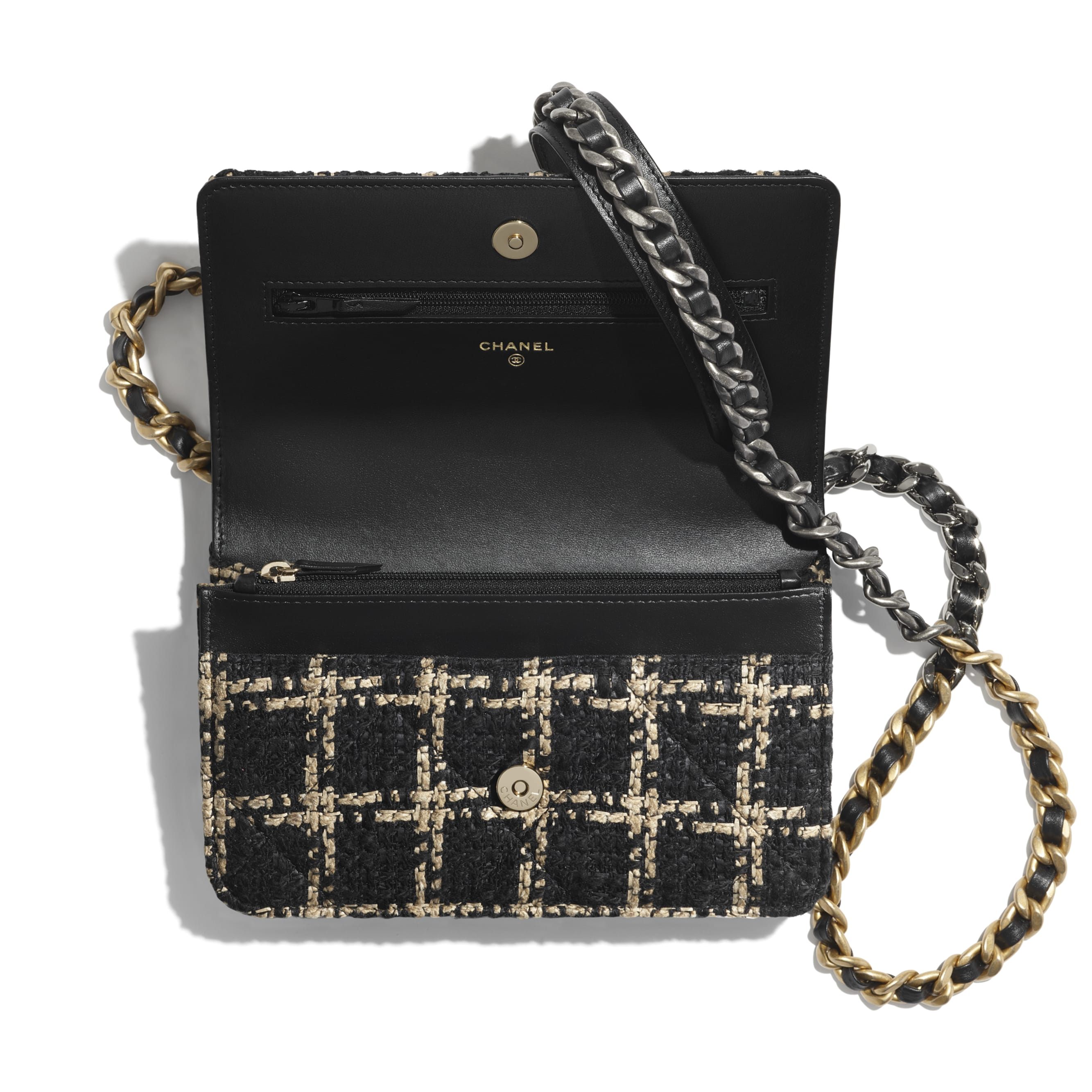 CHANEL 19 Wallet on Chain - Black & Beige - Tweed, Gold-Tone, Silver-Tone & Ruthenium-Finish Metal - CHANEL - Alternative view - see standard sized version
