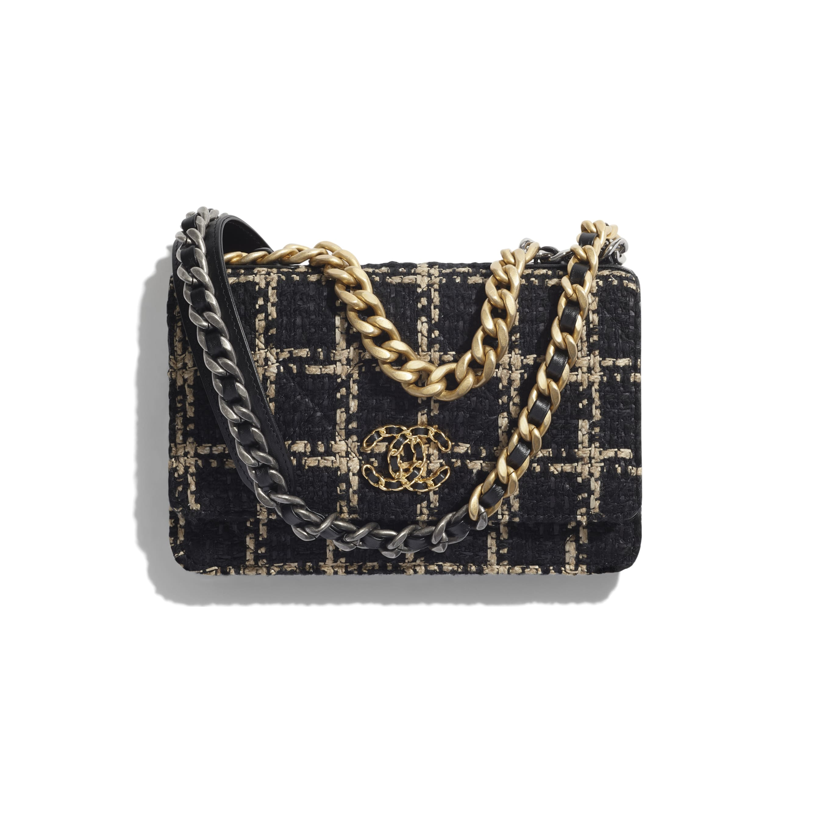 CHANEL 19 Wallet on Chain - Black & Beige - Tweed, Gold-Tone, Silver-Tone & Ruthenium-Finish Metal - CHANEL - Default view - see standard sized version