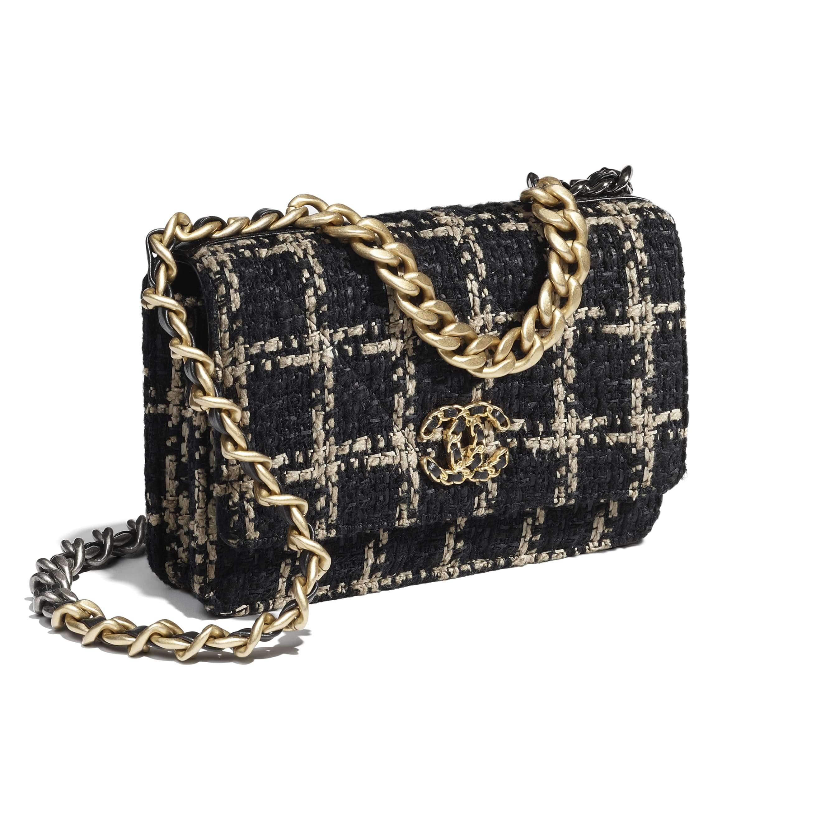 CHANEL 19 Wallet on Chain - Black & Beige - Tweed, Gold-Tone, Silver-Tone & Ruthenium-Finish Metal - CHANEL - Extra view - see standard sized version