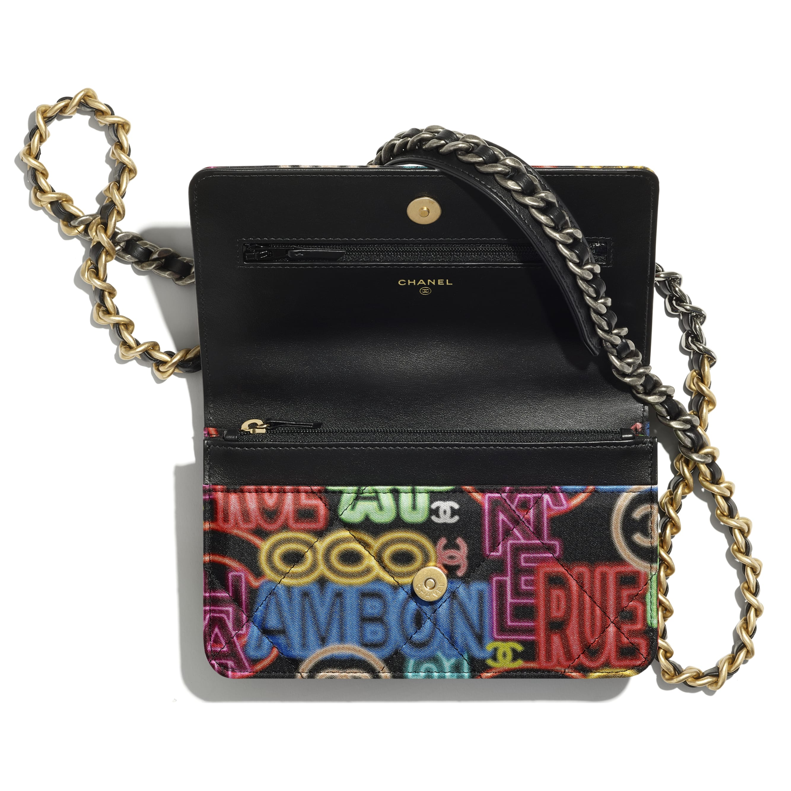 CHANEL 19 Wallet on Chain - Black & Multicolour - Printed Fabric, Gold-Tone, Silver-Tone & Ruthenium-Finish Metal - CHANEL - Alternative view - see standard sized version