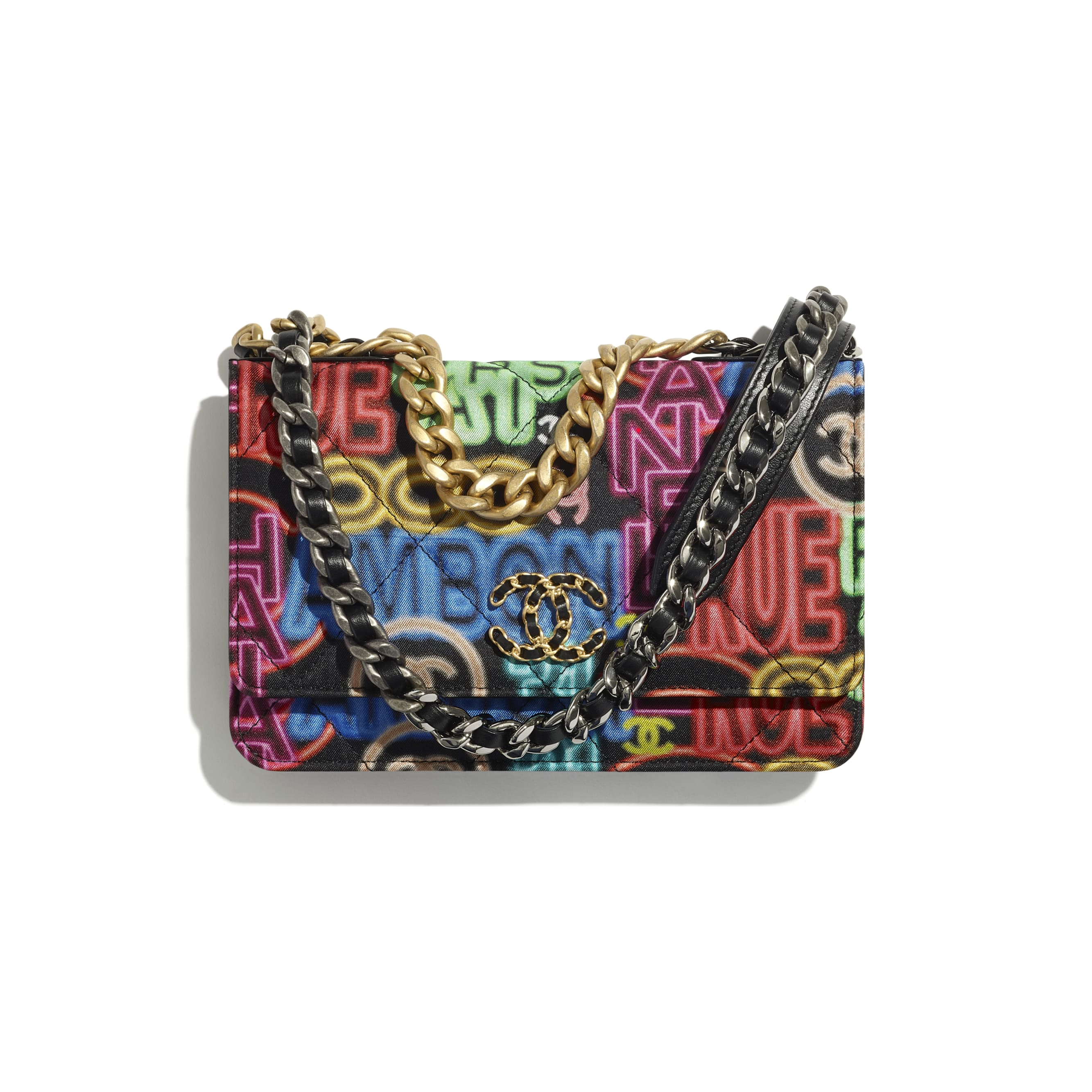 CHANEL 19 Wallet on Chain - Black & Multicolour - Printed Fabric, Gold-Tone, Silver-Tone & Ruthenium-Finish Metal - CHANEL - Default view - see standard sized version