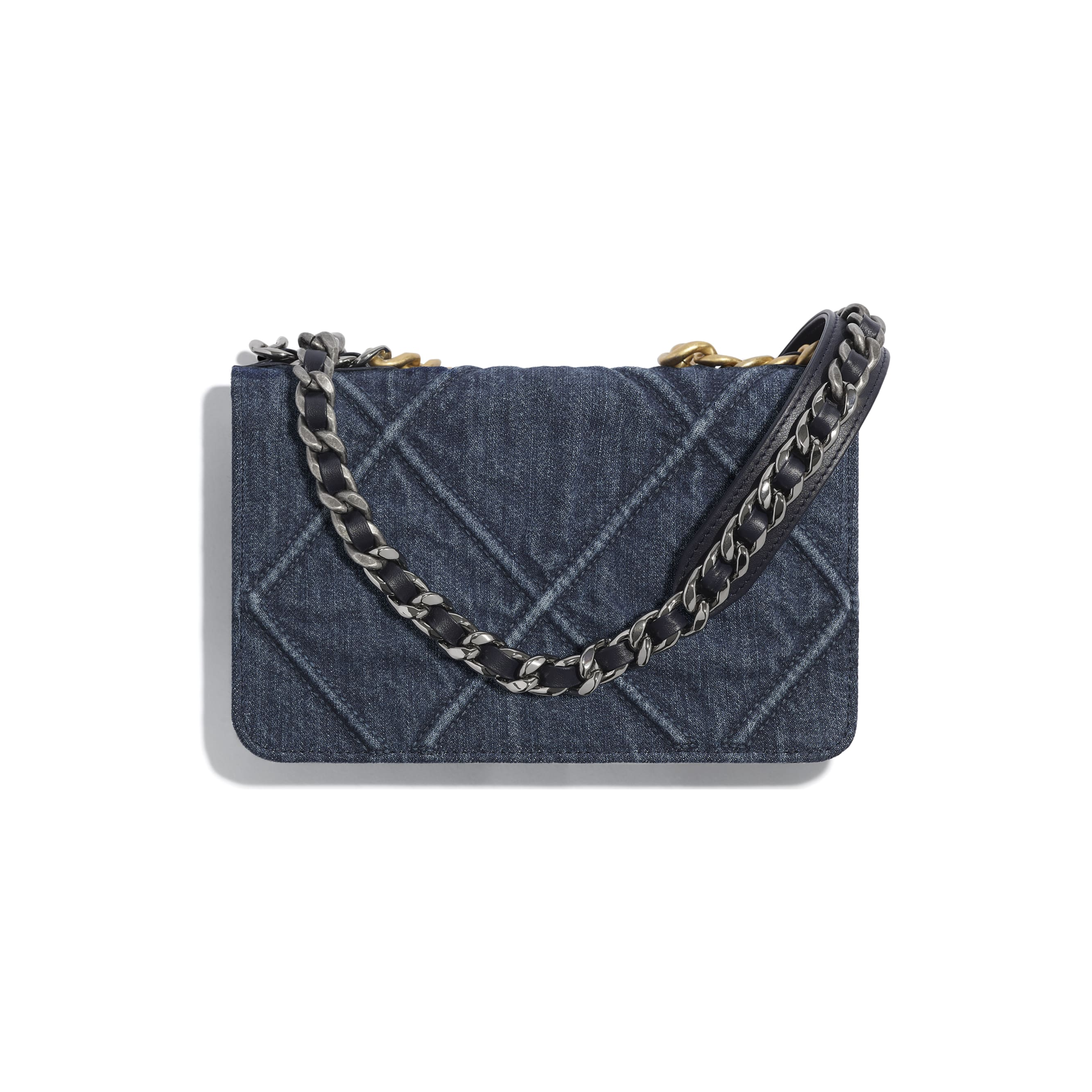 CHANEL 19 Wallet on Chain - Blue - Denim, Gold-Tone, Silver-Tone & Ruthenium-Finish Metal - CHANEL - Alternative view - see standard sized version