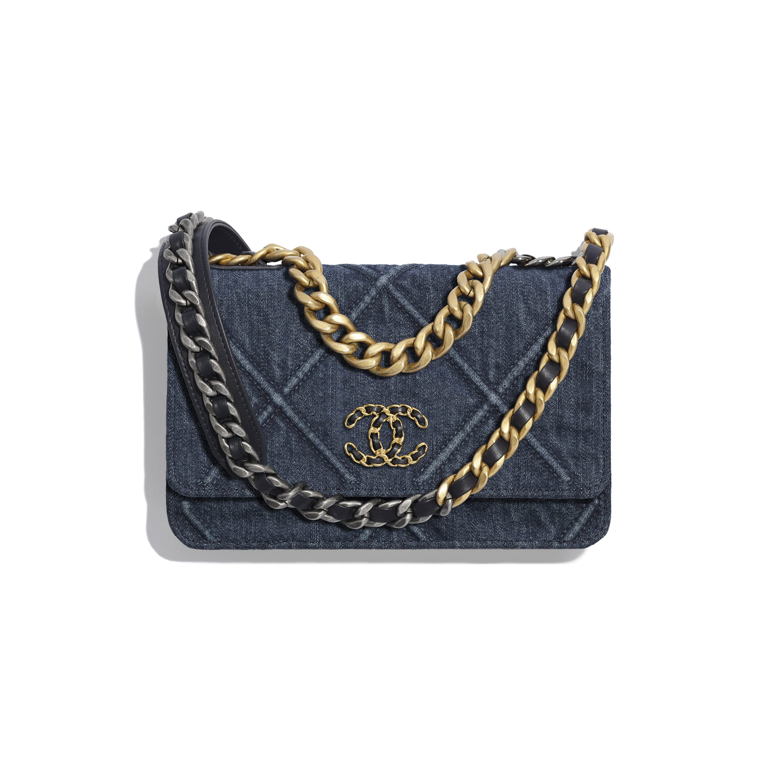 CHANEL 19 Wallet on Chain - Blue - Denim, Gold-Tone, Silver-Tone & Ruthenium-Finish Metal - CHANEL - Default view - see standard sized version