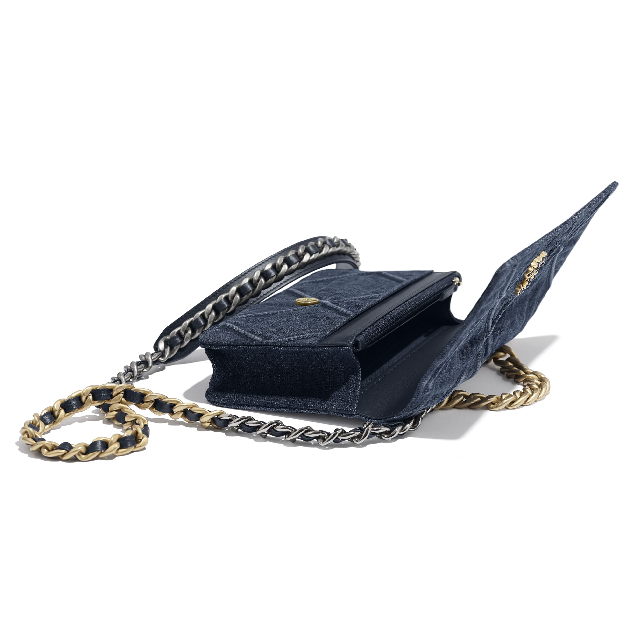 CHANEL 19 Wallet on Chain - Blue - Denim, Gold-Tone, Silver-Tone & Ruthenium-Finish Metal - CHANEL - Extra view - see standard sized version