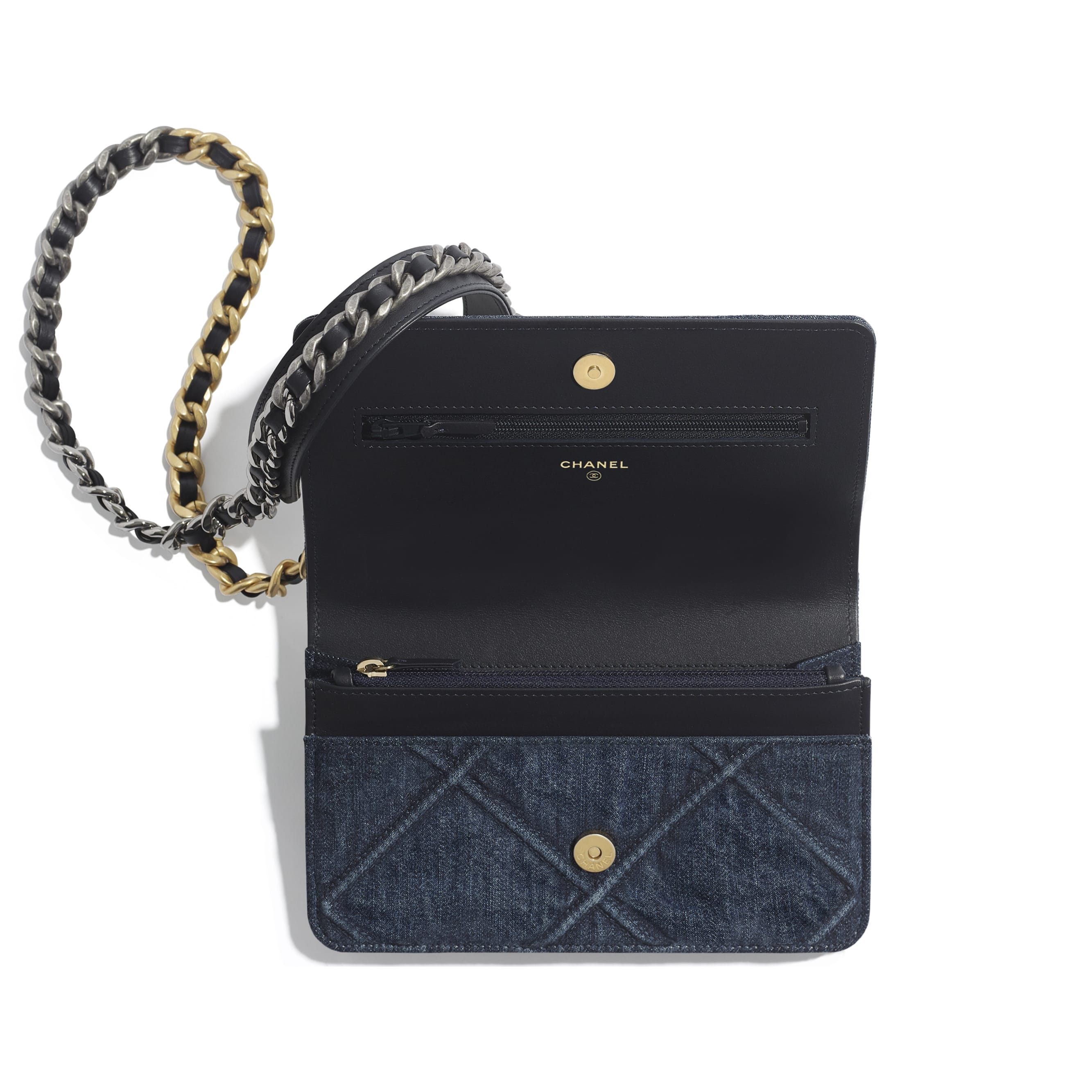 CHANEL 19 Wallet on Chain - Blue - Denim, Gold-Tone, Silver-Tone & Ruthenium-Finish Metal - Other view - see standard sized version