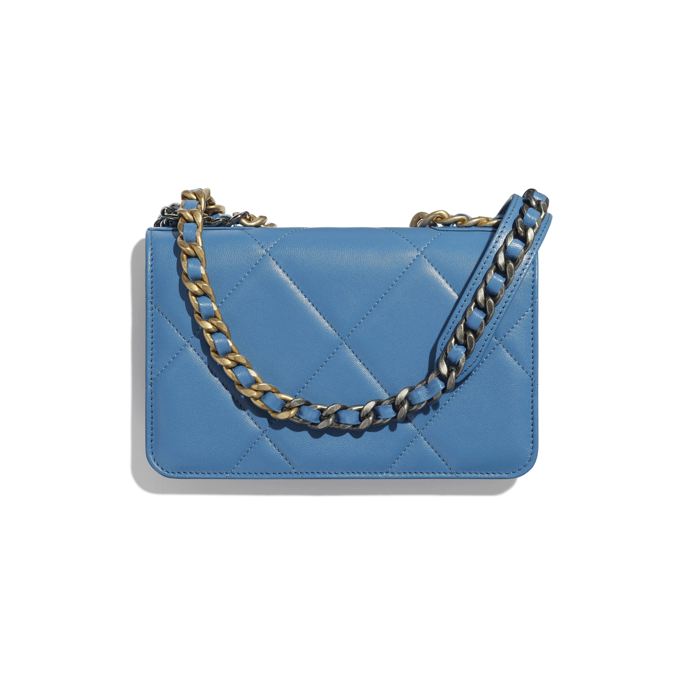 CHANEL 19 Wallet on Chain - Blue - Lambskin, Gold-Tone, Silver-Tone & Ruthenium-Finish Metal - Alternative view - see standard sized version