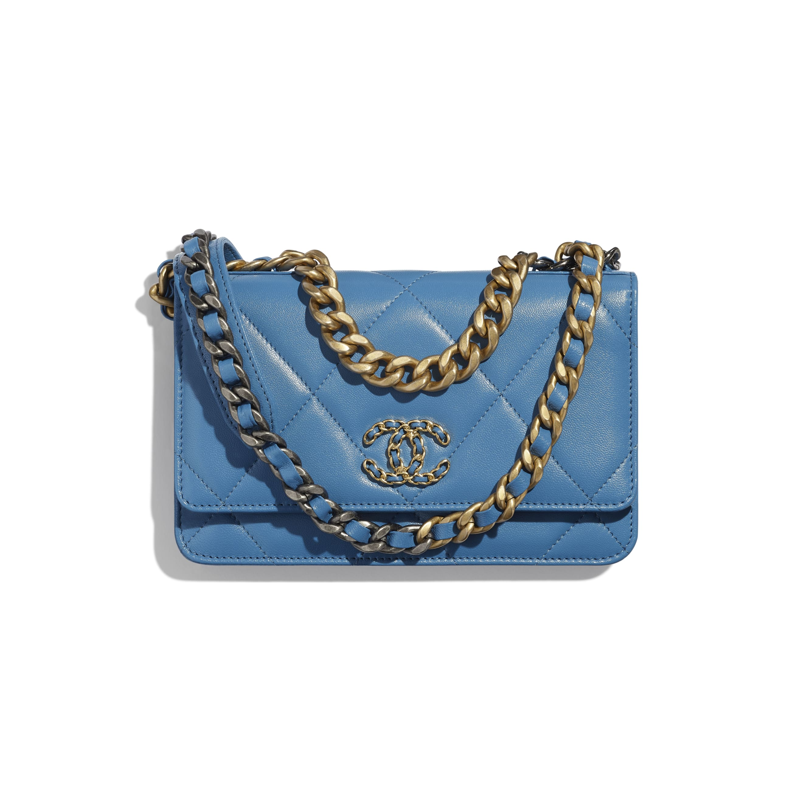 CHANEL 19 Wallet on Chain - Blue - Lambskin, Gold-Tone, Silver-Tone & Ruthenium-Finish Metal - Default view - see standard sized version