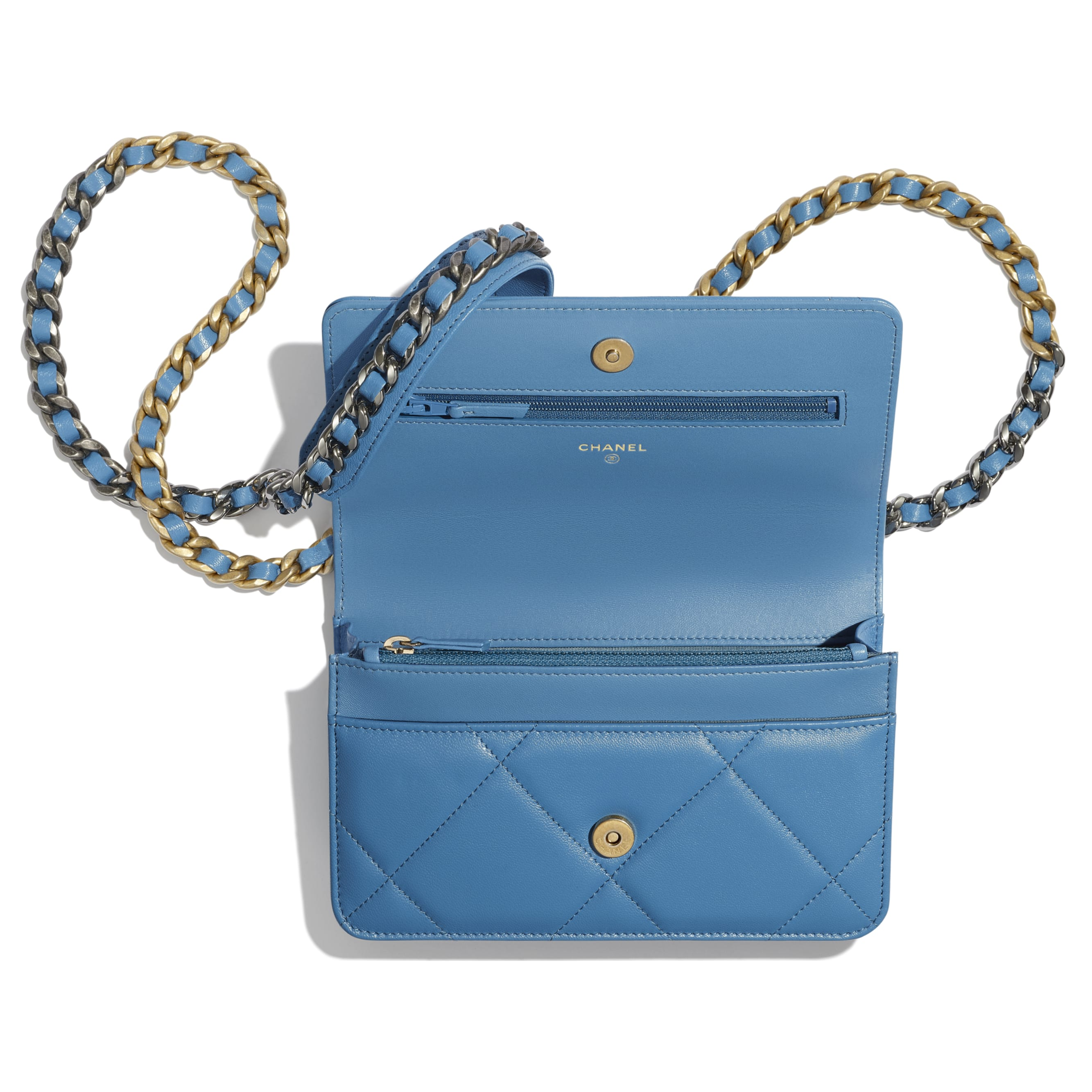 CHANEL 19 Wallet on Chain - Blue - Lambskin, Gold-Tone, Silver-Tone & Ruthenium-Finish Metal - Other view - see standard sized version