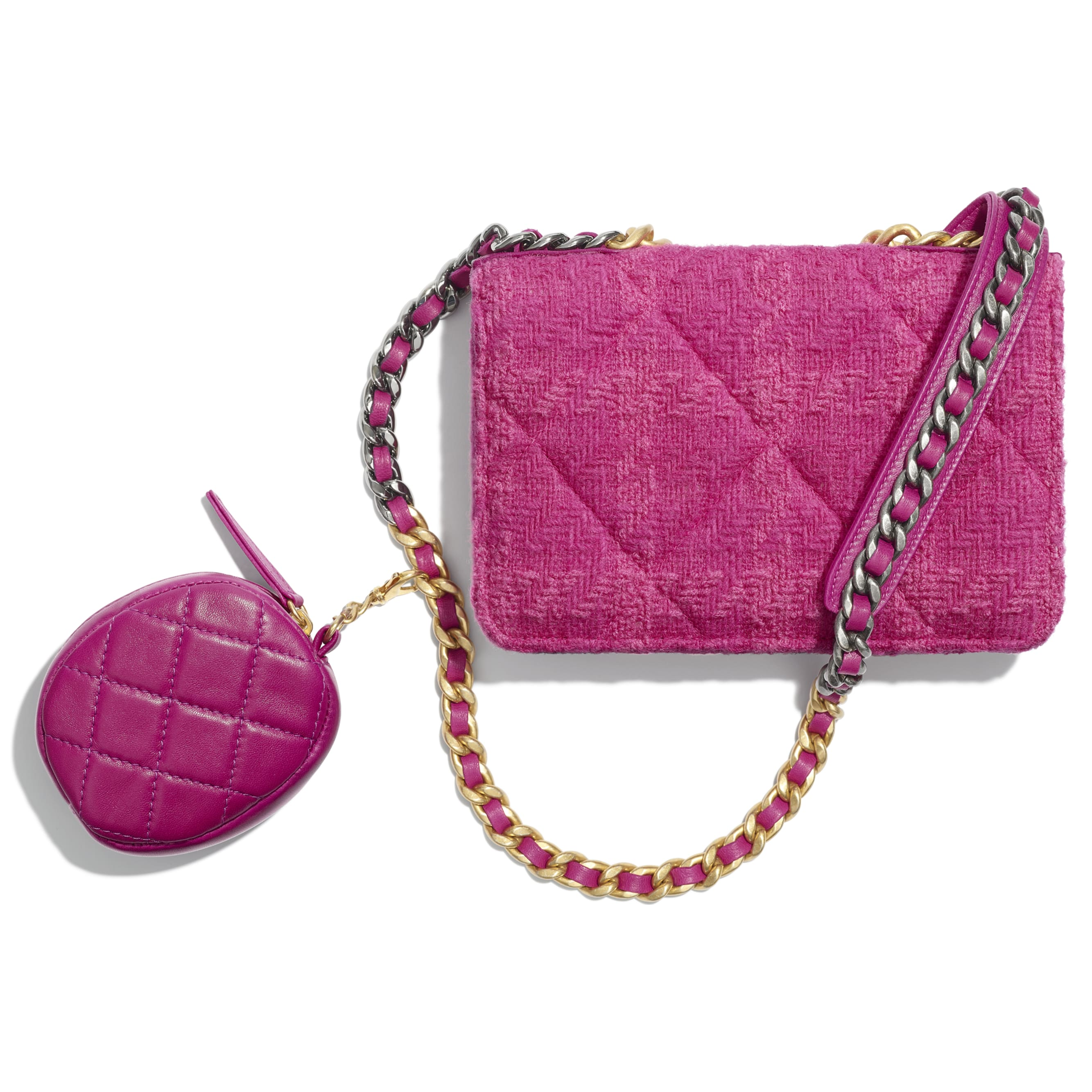 CHANEL 19 Wallet on Chain & Coin Purse - Fuchsia - Wool Tweed, Lambskin, Gold-Tone, Silver-Tone & Ruthenium-Finish Metal - Alternative view - see standard sized version