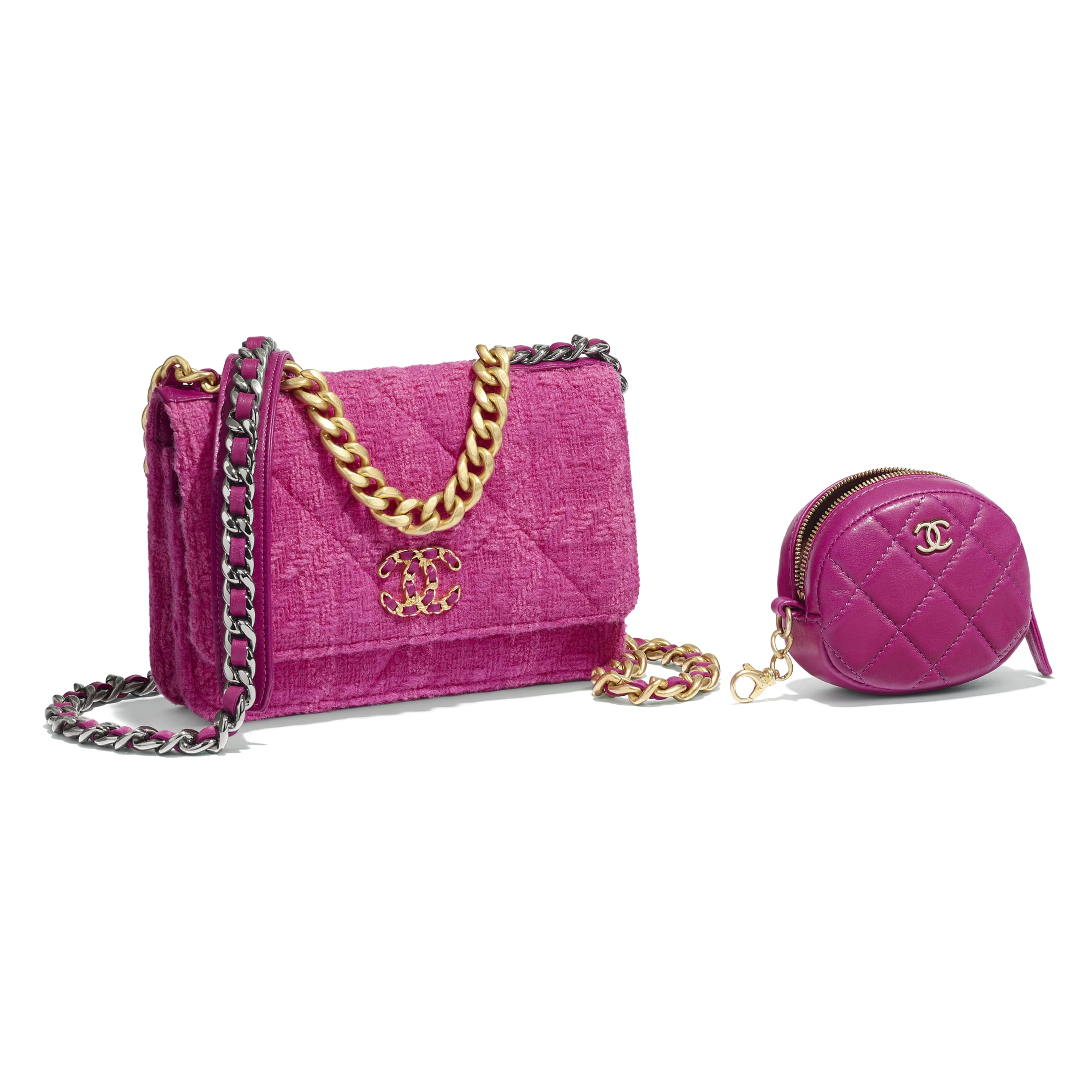 CHANEL 19 Wallet on Chain & Coin Purse - Fuchsia - Wool Tweed, Lambskin, Gold-Tone, Silver-Tone & Ruthenium-Finish Metal - Extra view - see standard sized version