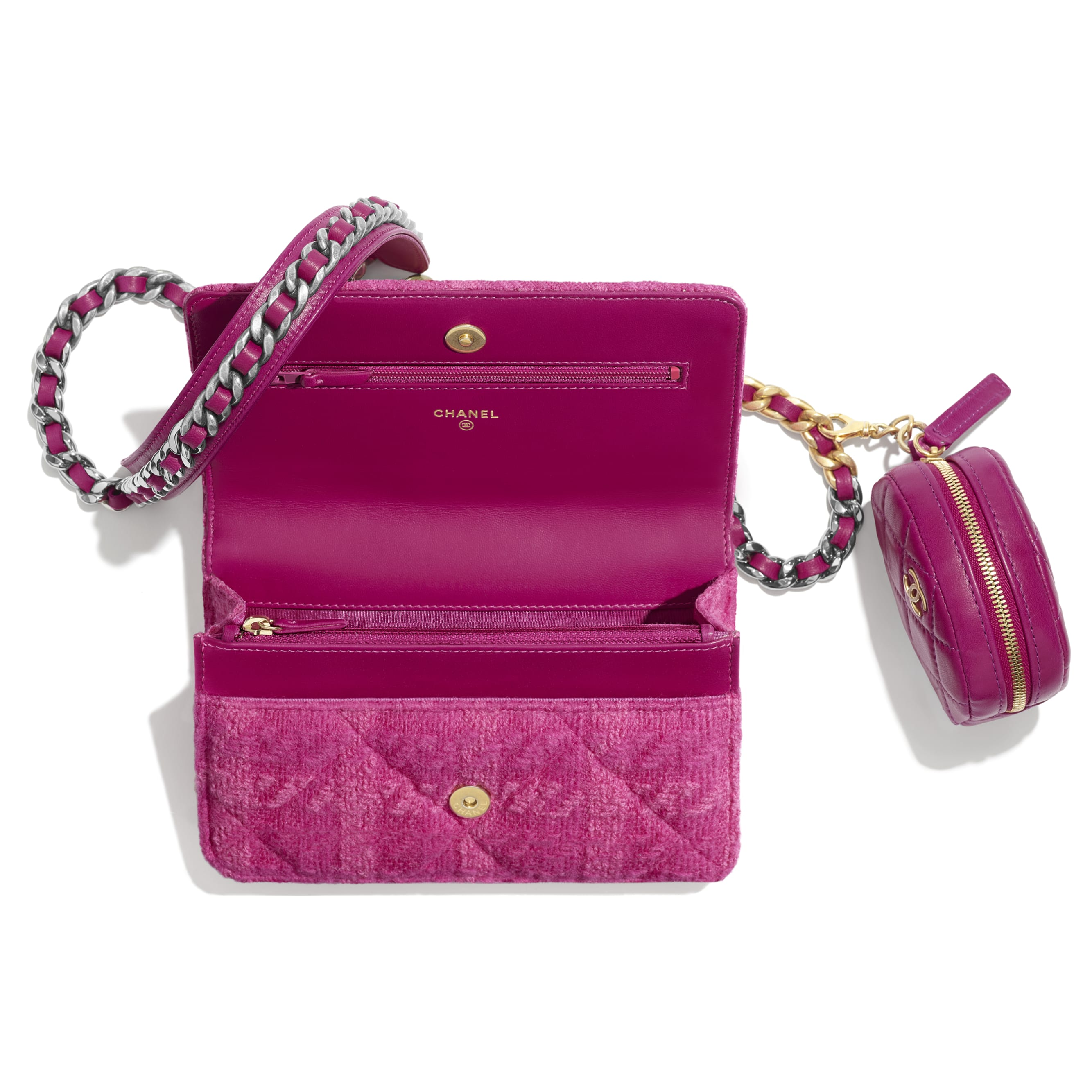 CHANEL 19 Wallet on Chain & Coin Purse - Fuchsia - Wool Tweed, Lambskin, Gold-Tone, Silver-Tone & Ruthenium-Finish Metal - Other view - see standard sized version