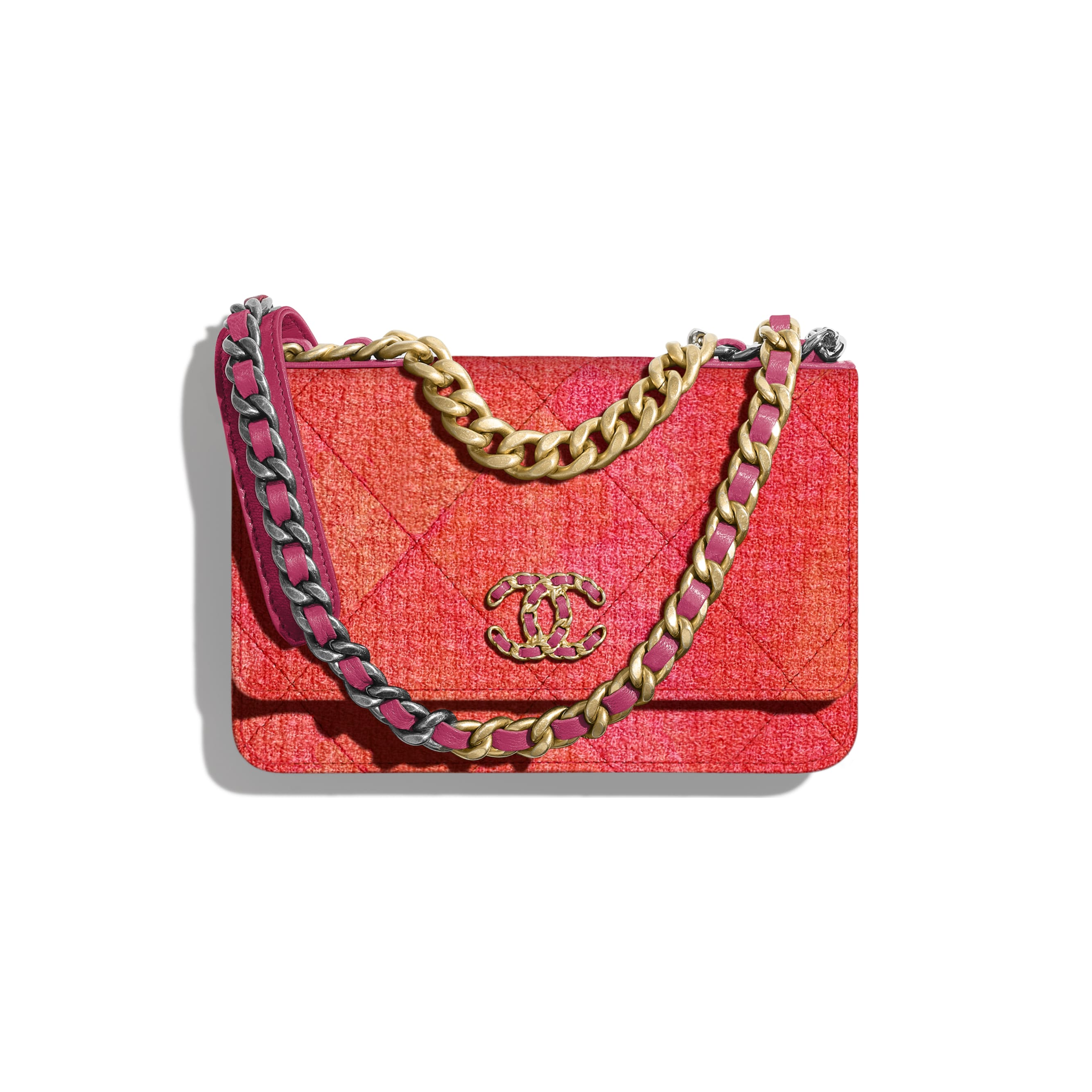 CHANEL 19 Wallet on Chain - Coral, Pink & Orange - Wool Tweed, Gold-Tone, Silver-Tone & Ruthenium-Finish Metal - CHANEL - Default view - see standard sized version