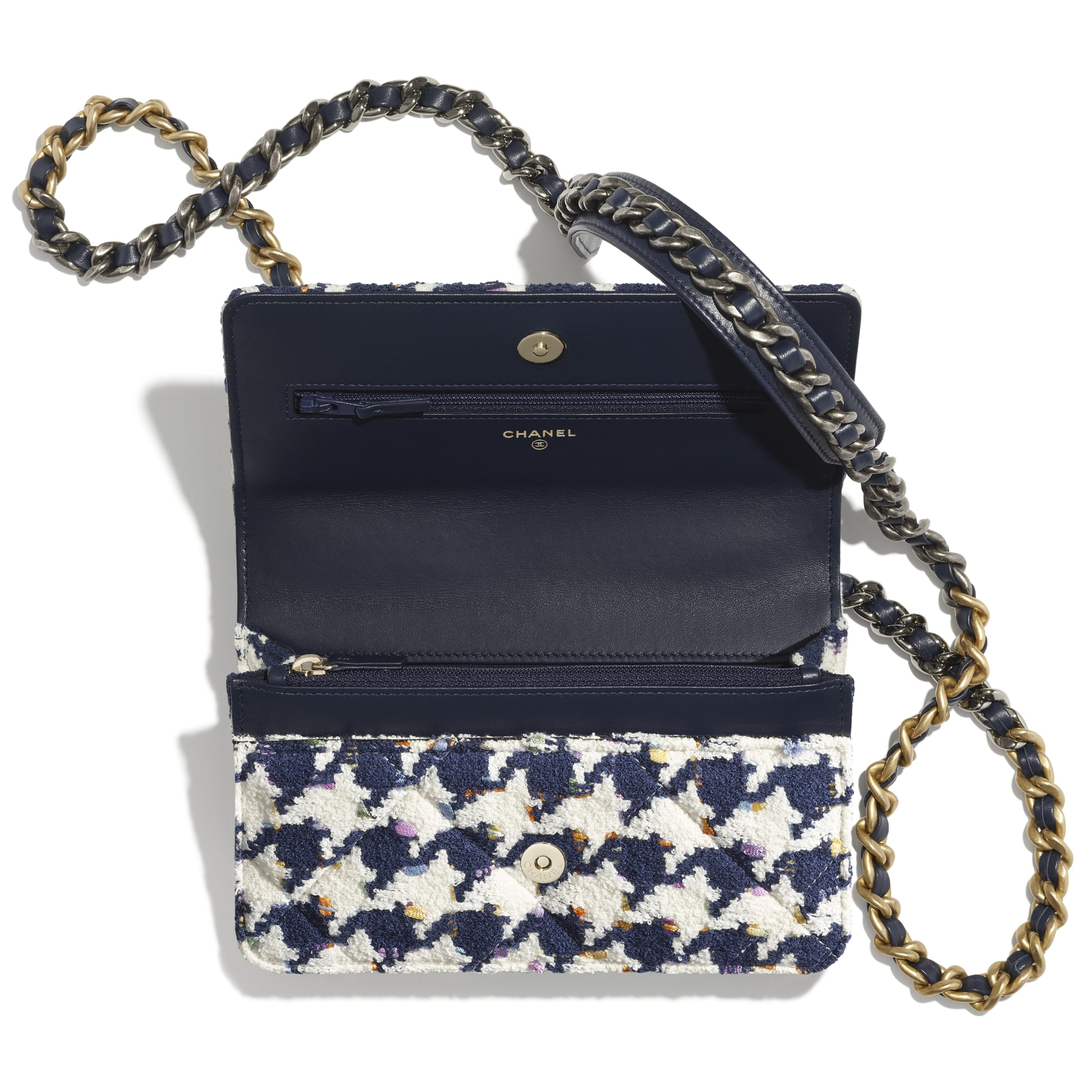 CHANEL 19 Wallet on Chain - Ecru, Navy Blue & Multicolour - Tweed, Gold-Tone, Silver-Tone & Ruthenium-Finish Metal - CHANEL - Alternative view - see standard sized version
