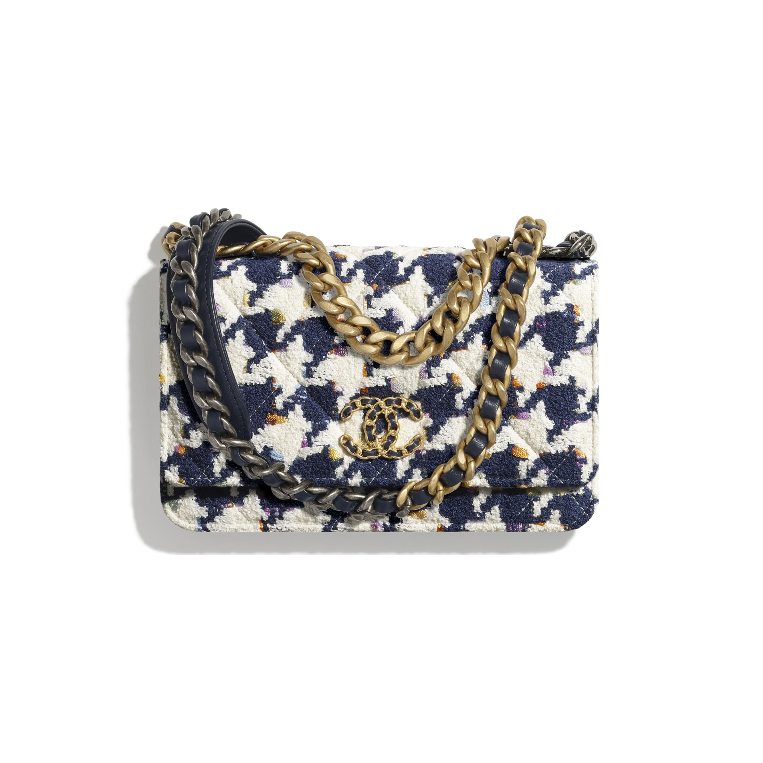 CHANEL 19 Wallet on Chain - Ecru, Navy Blue & Multicolour - Tweed, Gold-Tone, Silver-Tone & Ruthenium-Finish Metal - CHANEL - Default view - see standard sized version