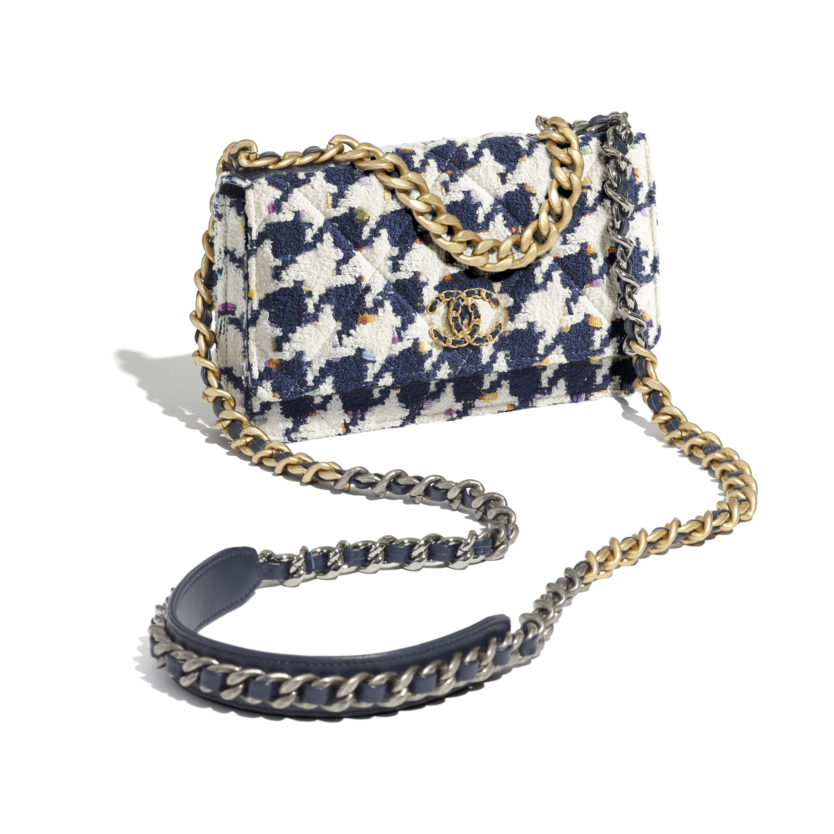 CHANEL 19 Wallet on Chain - Ecru, Navy Blue & Multicolour - Tweed, Gold-Tone, Silver-Tone & Ruthenium-Finish Metal - CHANEL - Extra view - see standard sized version