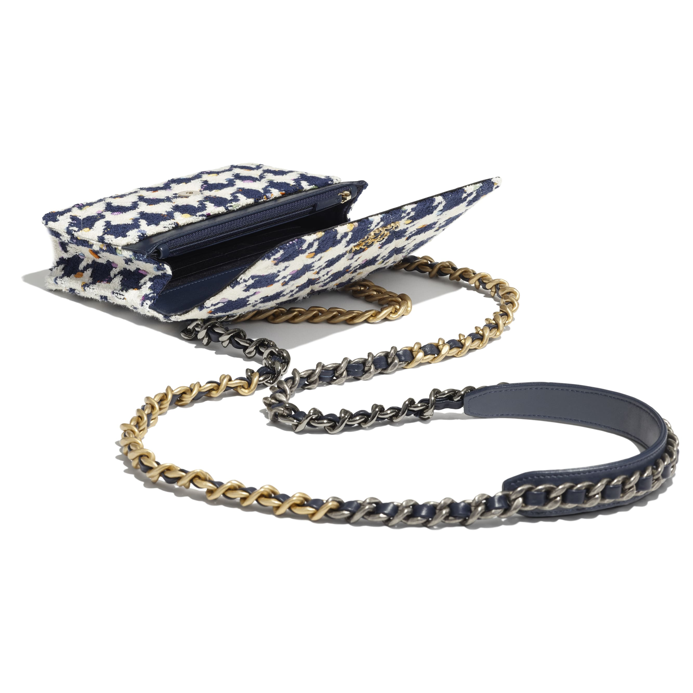 CHANEL 19 Wallet on Chain - Ecru, Navy Blue & Multicolour - Tweed, Gold-Tone, Silver-Tone & Ruthenium-Finish Metal - CHANEL - Other view - see standard sized version