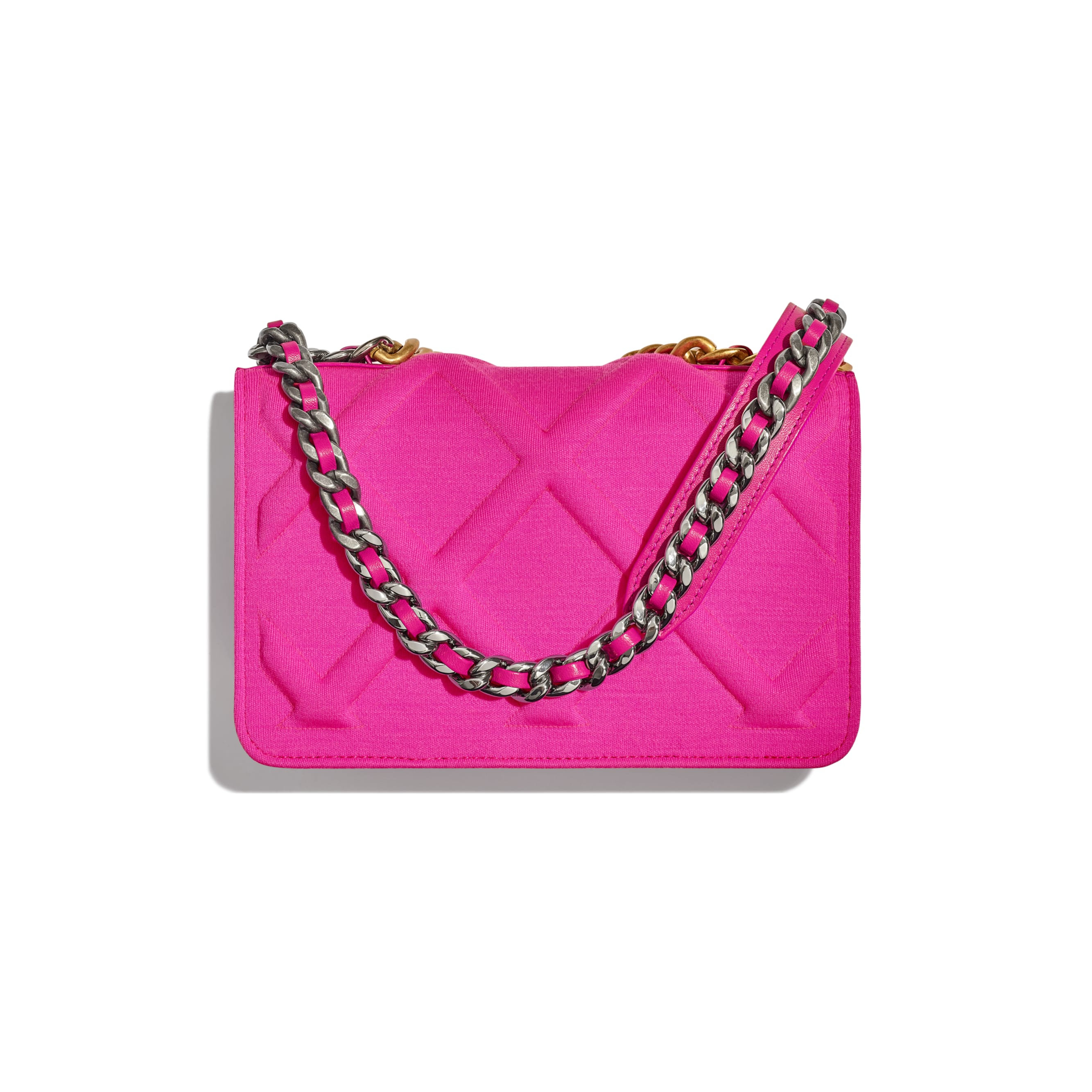 CHANEL 19 Wallet on Chain - Fuchsia - Jersey, Gold-Tone, Silver-Tone & Ruthenium-Finish Metal - Alternative view - see standard sized version