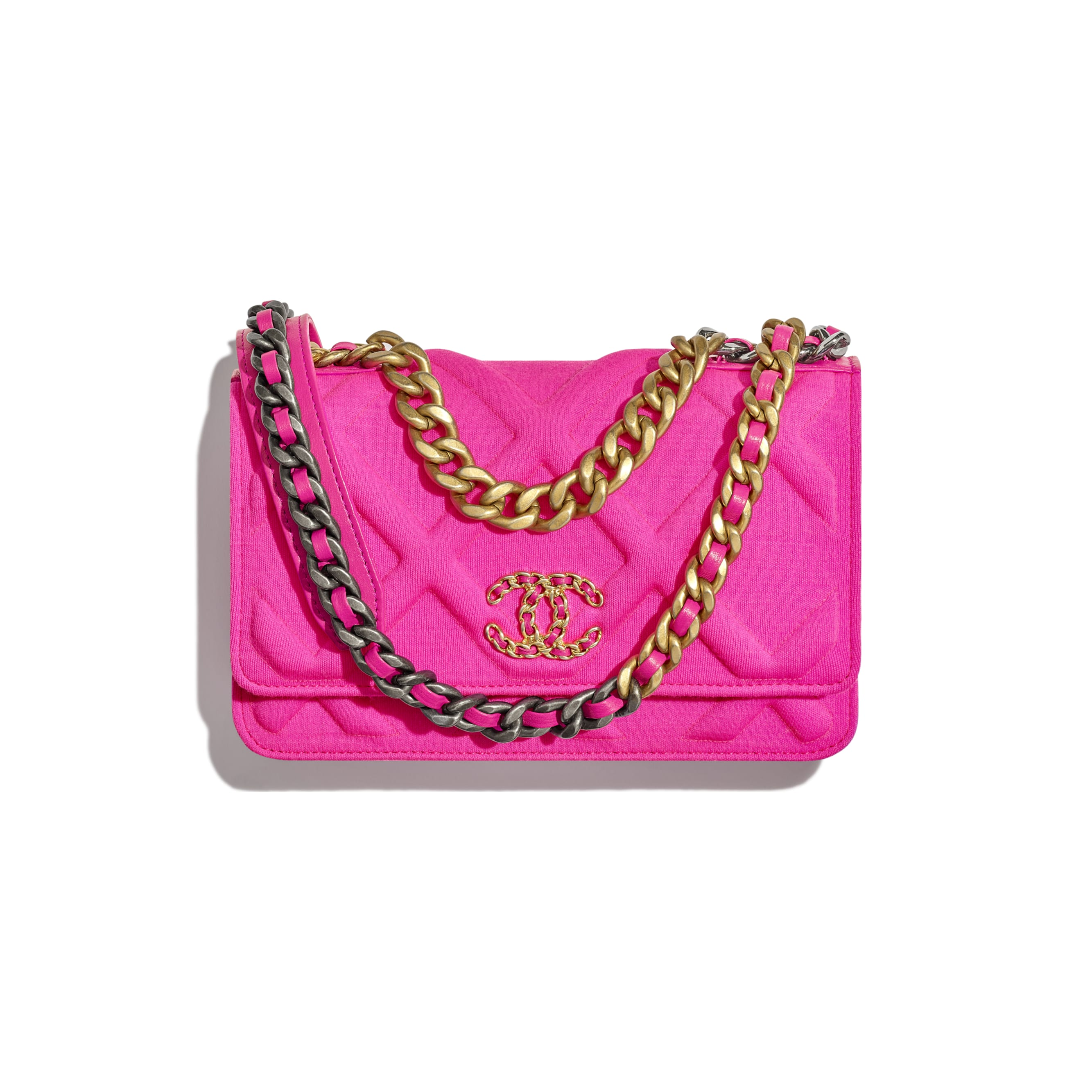 CHANEL 19 Wallet on Chain - Fuchsia - Jersey, Gold-Tone, Silver-Tone & Ruthenium-Finish Metal - Default view - see standard sized version