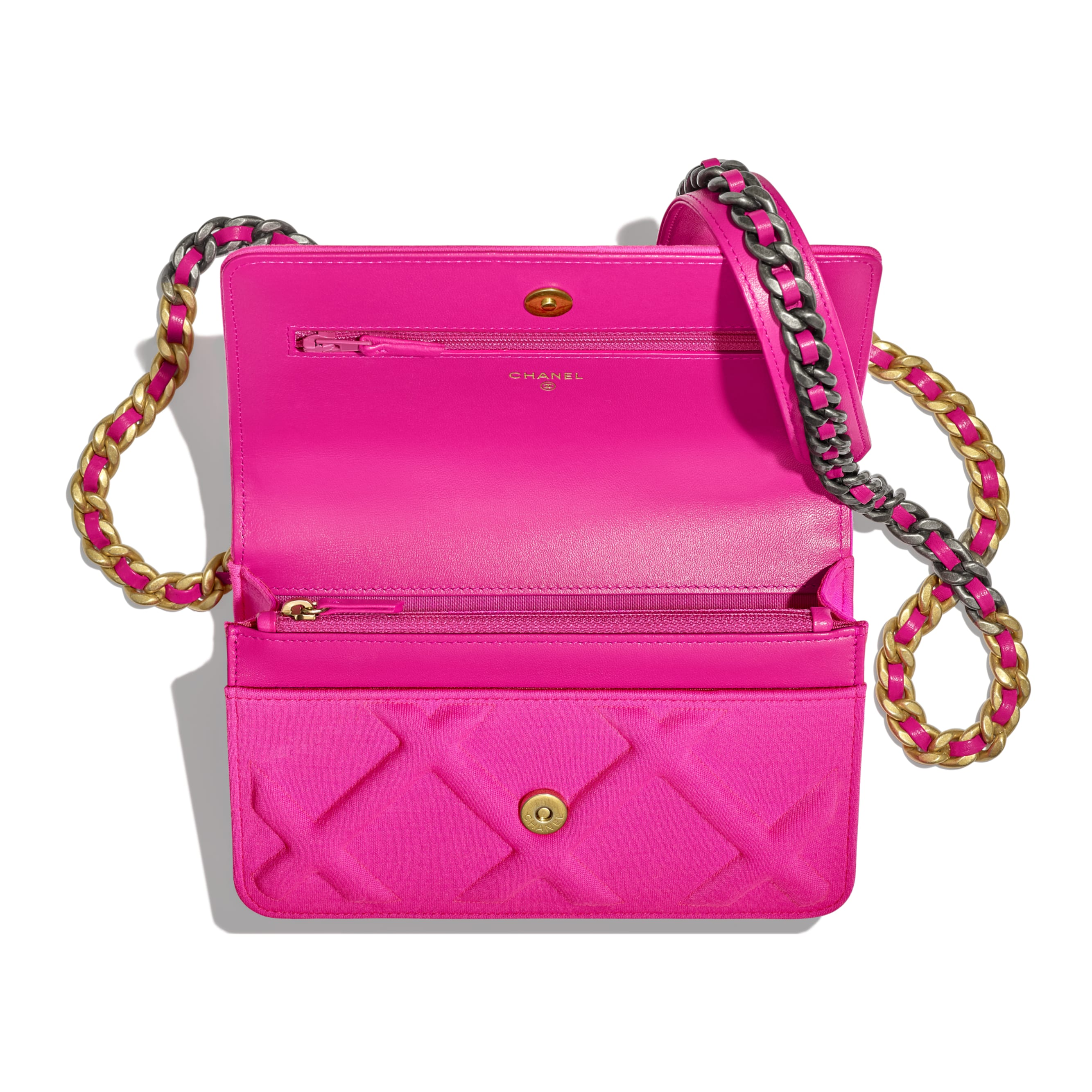 CHANEL 19 Wallet on Chain - Fuchsia - Jersey, Gold-Tone, Silver-Tone & Ruthenium-Finish Metal - Other view - see standard sized version