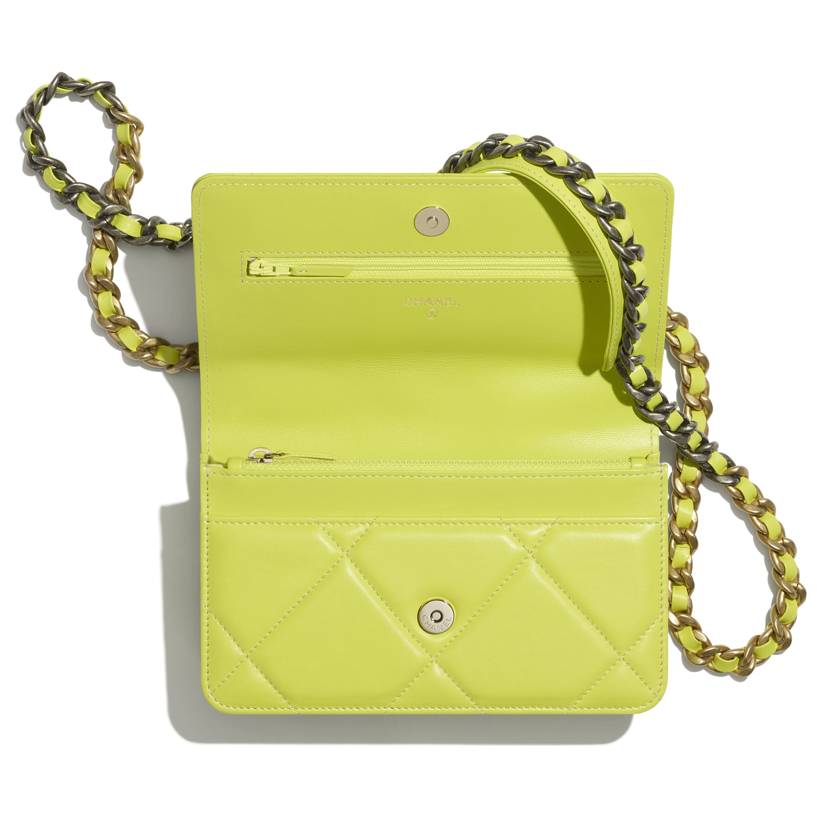 CHANEL 19 Wallet on Chain - Neon Yellow - Shiny Lambskin, Gold-Tone, Silver-Tone & Ruthenium-Finish Metal - CHANEL - Alternative view - see standard sized version
