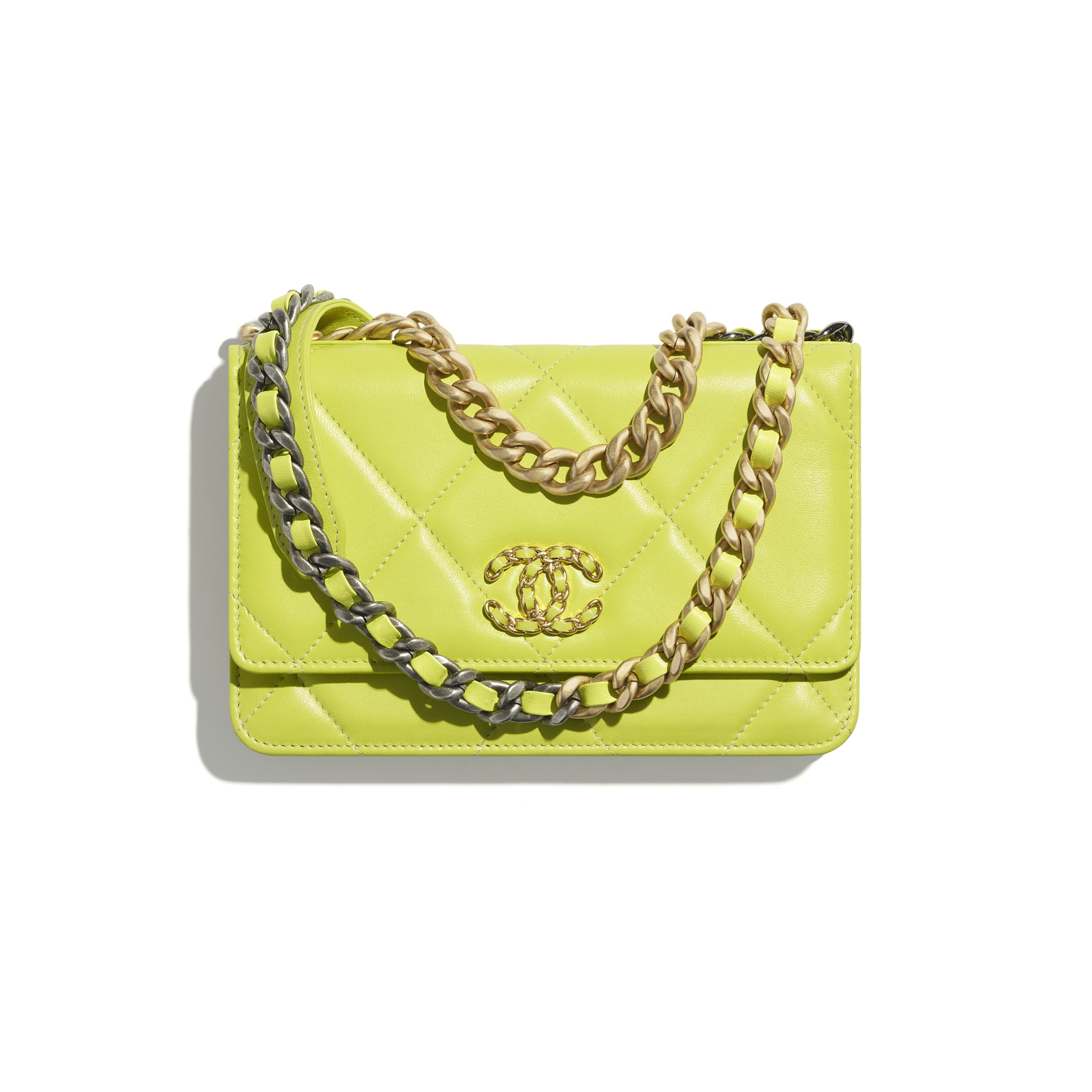 CHANEL 19 Wallet on Chain - Neon Yellow - Shiny Lambskin, Gold-Tone, Silver-Tone & Ruthenium-Finish Metal - CHANEL - Default view - see standard sized version