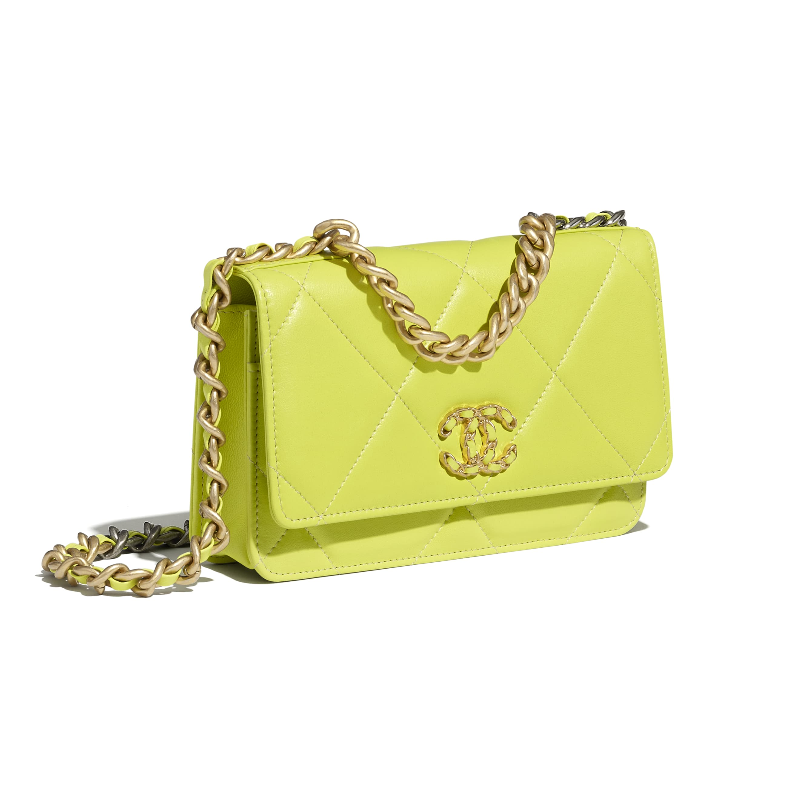 CHANEL 19 Wallet on Chain - Neon Yellow - Shiny Lambskin, Gold-Tone, Silver-Tone & Ruthenium-Finish Metal - CHANEL - Extra view - see standard sized version