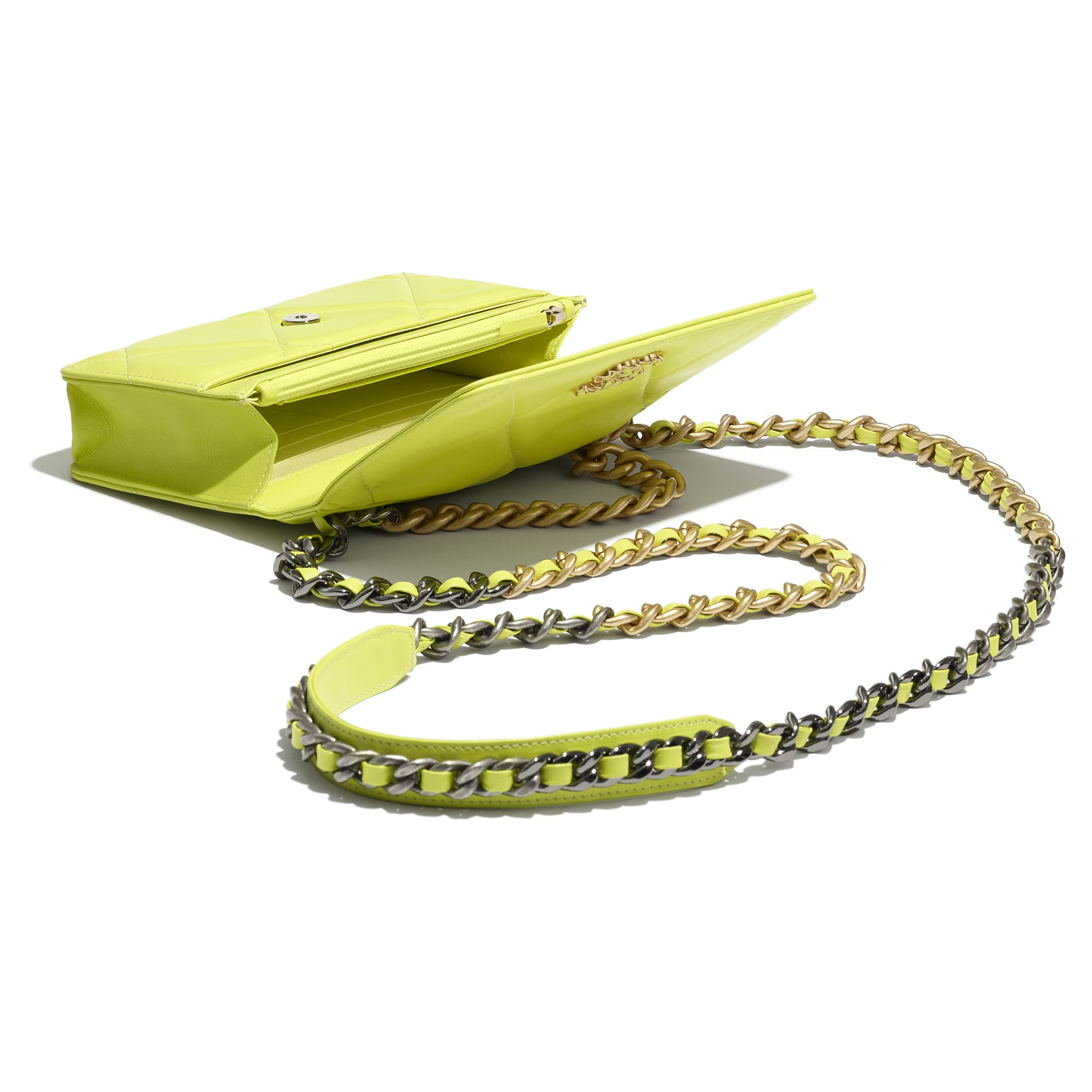 CHANEL 19 Wallet on Chain - Neon Yellow - Shiny Lambskin, Gold-Tone, Silver-Tone & Ruthenium-Finish Metal - CHANEL - Other view - see standard sized version