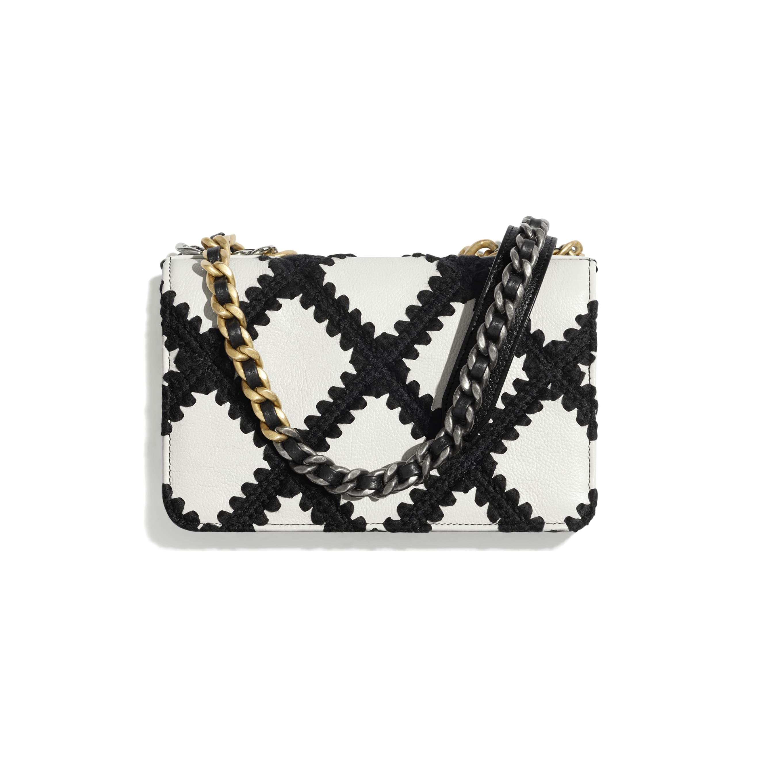 CHANEL 19 Wallet on Chain - White & Black - Calfskin, Crochet, Gold-Tone, Silver-Tone & Ruthenium-Finish Metal - CHANEL - Alternative view - see standard sized version