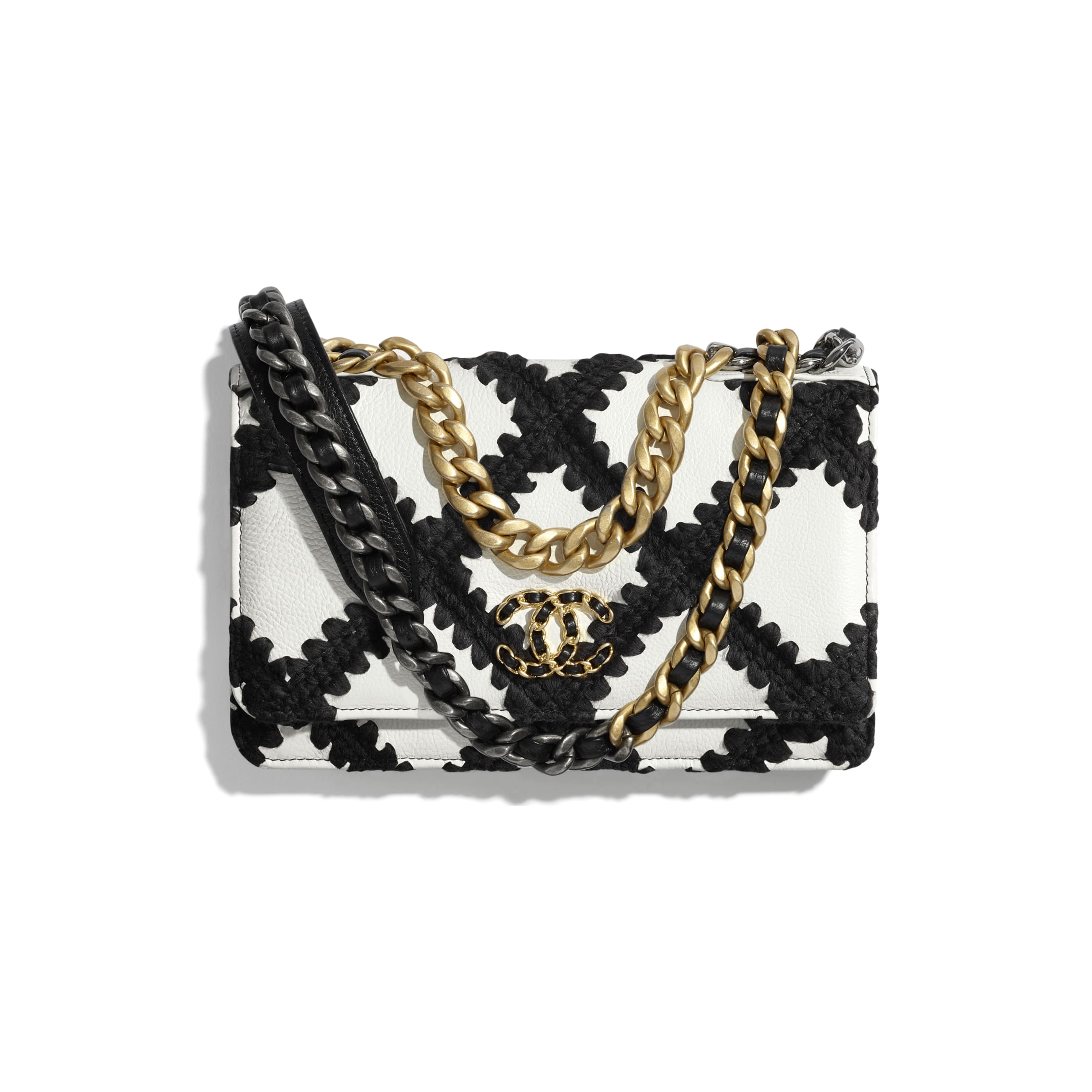 CHANEL 19 Wallet on Chain - White & Black - Calfskin, Crochet, Gold-Tone, Silver-Tone & Ruthenium-Finish Metal - CHANEL - Default view - see standard sized version