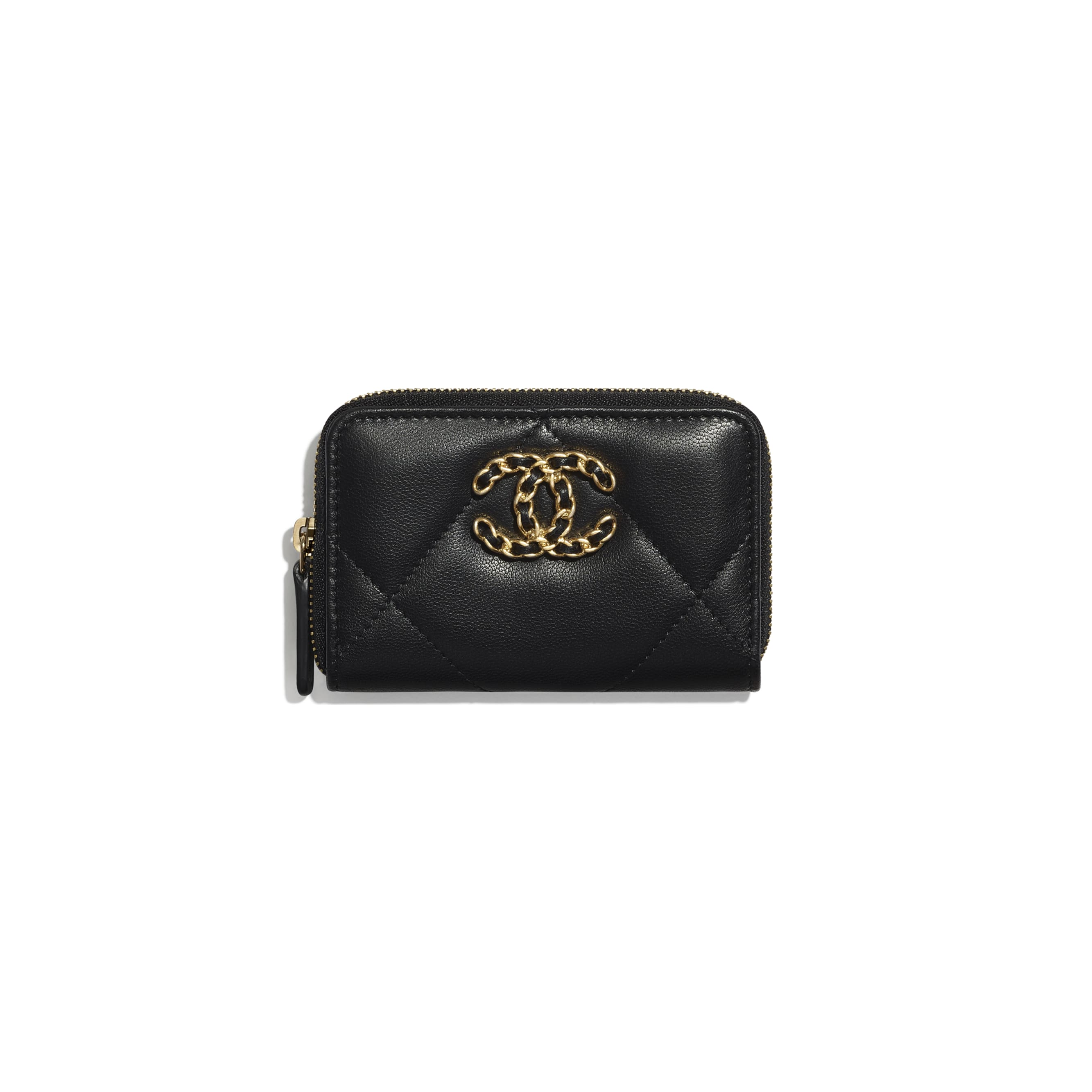 CHANEL 19 Zipped Coin Purse - Black - Shiny Goatskin, Gold-Tone, Silver-Tone & Ruthenium-Finish Metal - CHANEL - Default view - see standard sized version