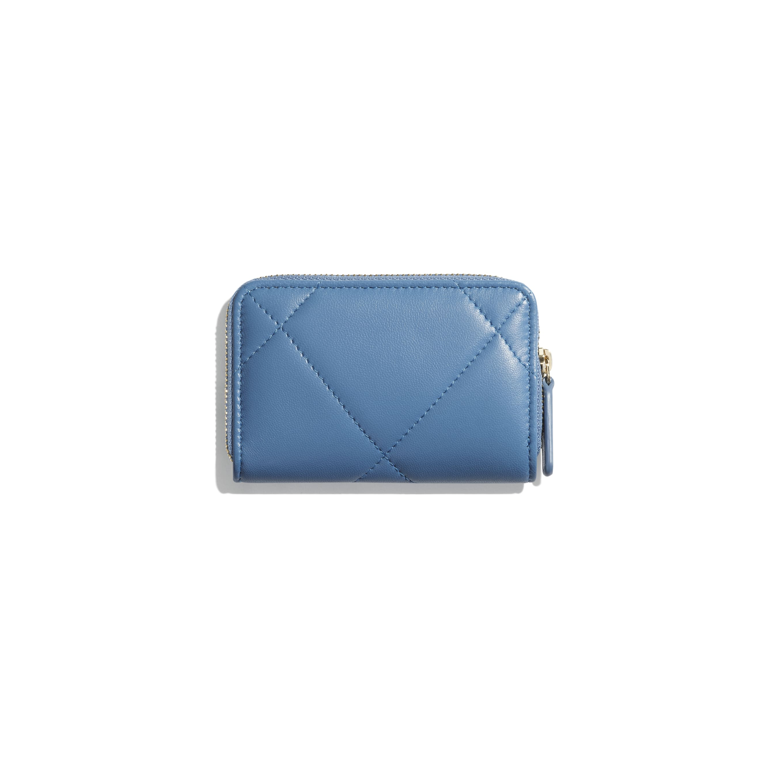 CHANEL 19 Zipped Coin Purse - Blue - Lambskin, Gold-Tone, Silver-Tone & Ruthenium-Finish Metal - CHANEL - Alternative view - see standard sized version