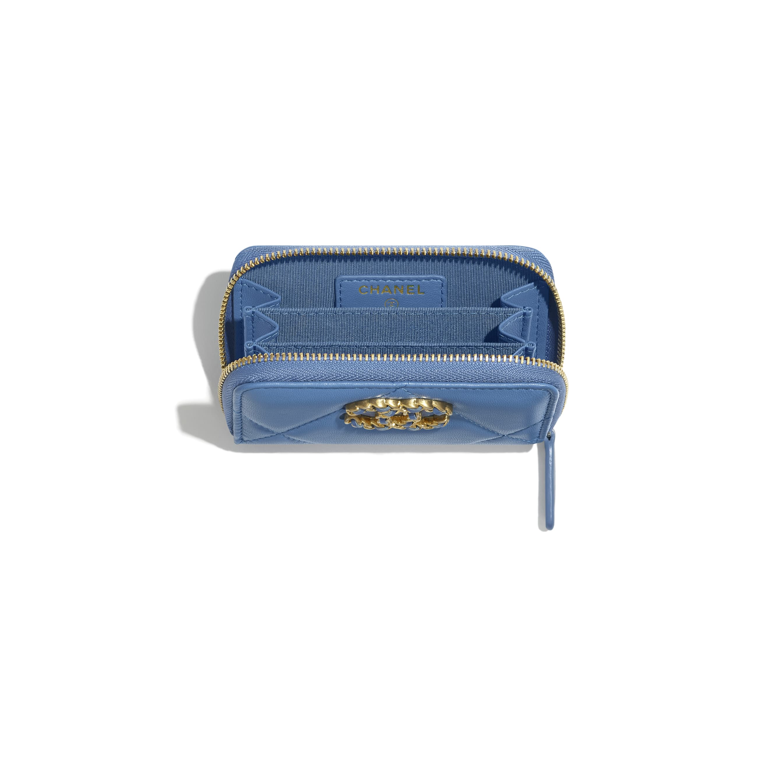 CHANEL 19 Zipped Coin Purse - Blue - Lambskin, Gold-Tone, Silver-Tone & Ruthenium-Finish Metal - CHANEL - Other view - see standard sized version