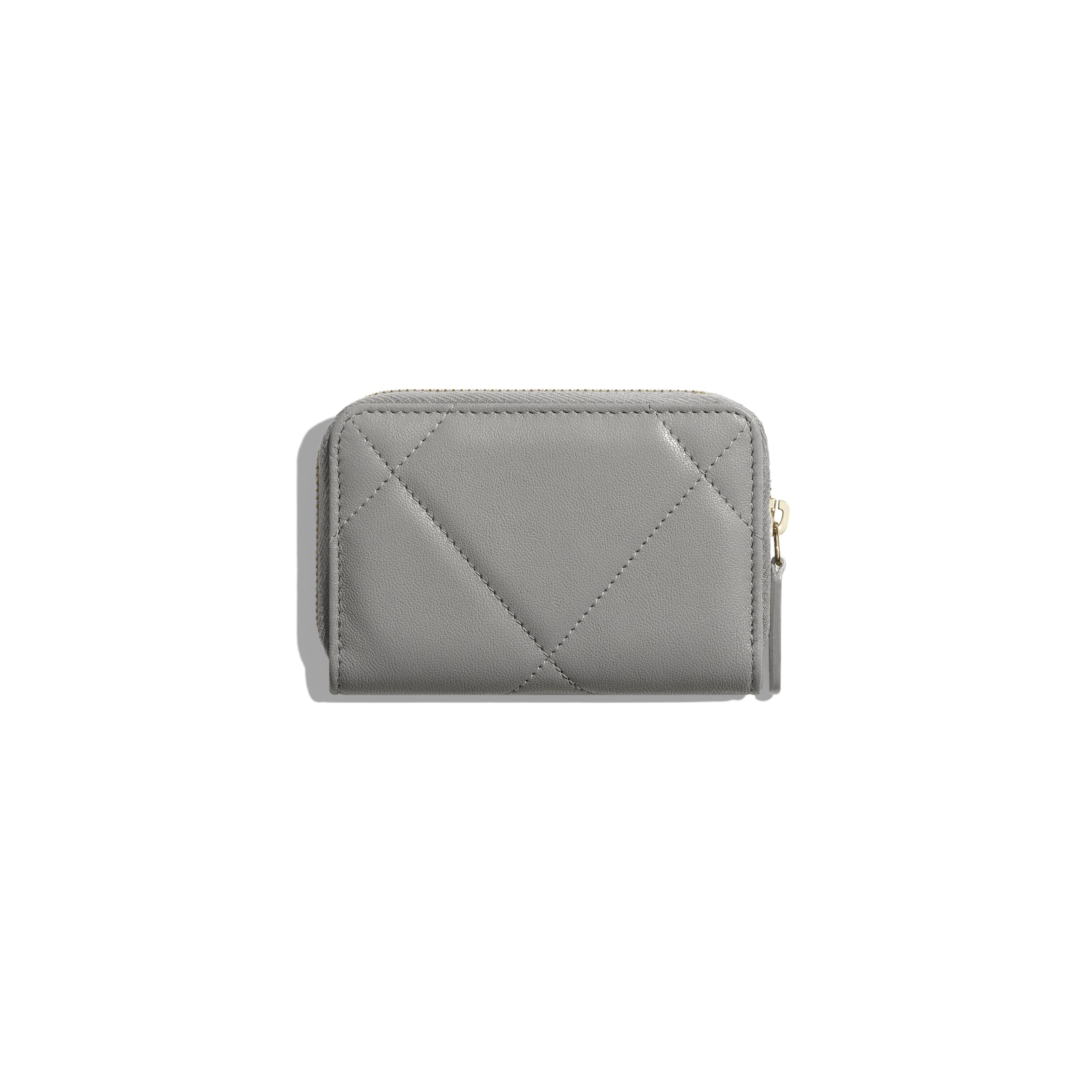 CHANEL 19 Zipped Coin Purse - Grey - Lambskin, Gold-Tone, Silver-Tone & Ruthenium-Finish Metal - Alternative view - see standard sized version