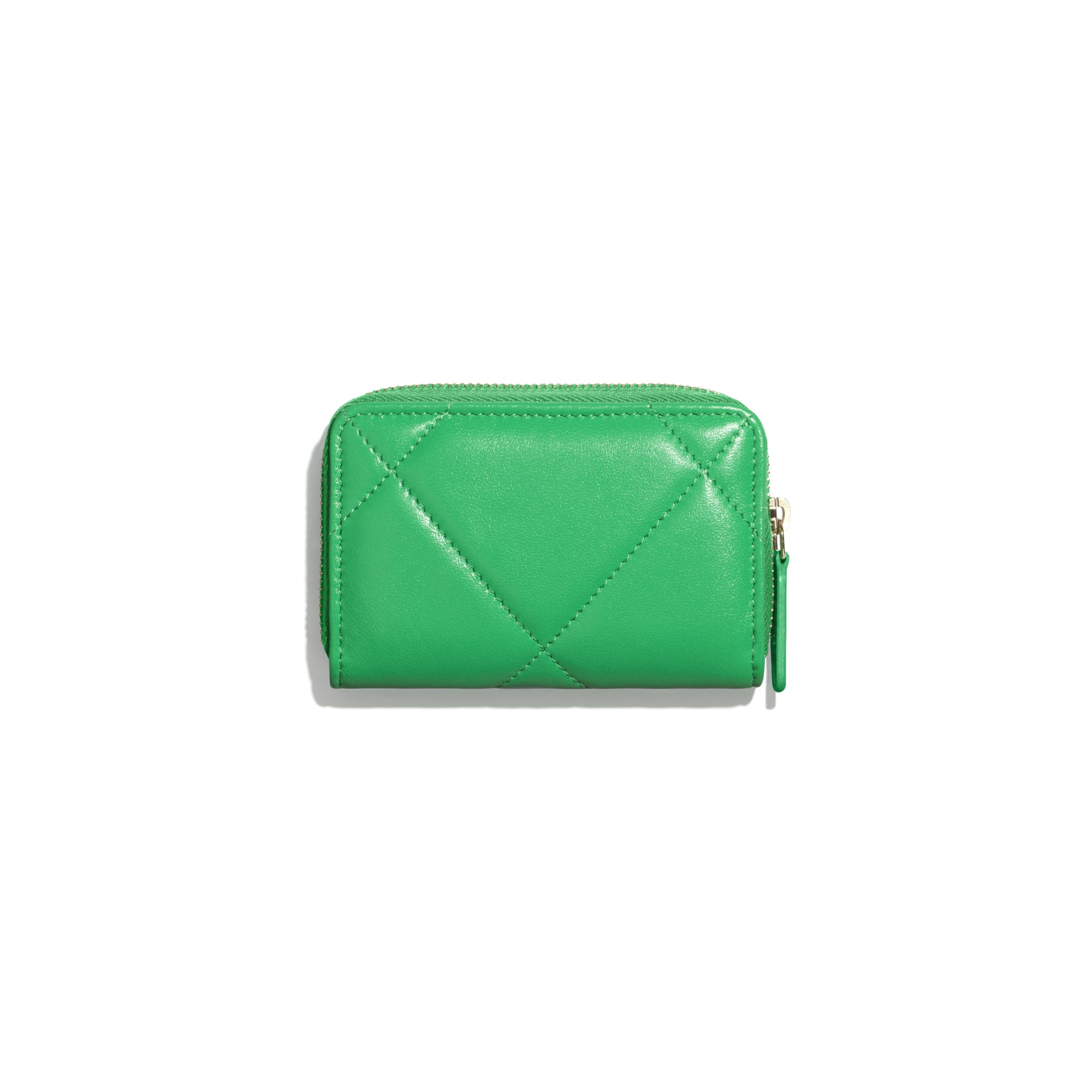 CHANEL 19 Zipped Coin Purse - Green - Lambskin, Gold-Tone, Silver-Tone & Ruthenium-Finish Metal - Alternative view - see standard sized version