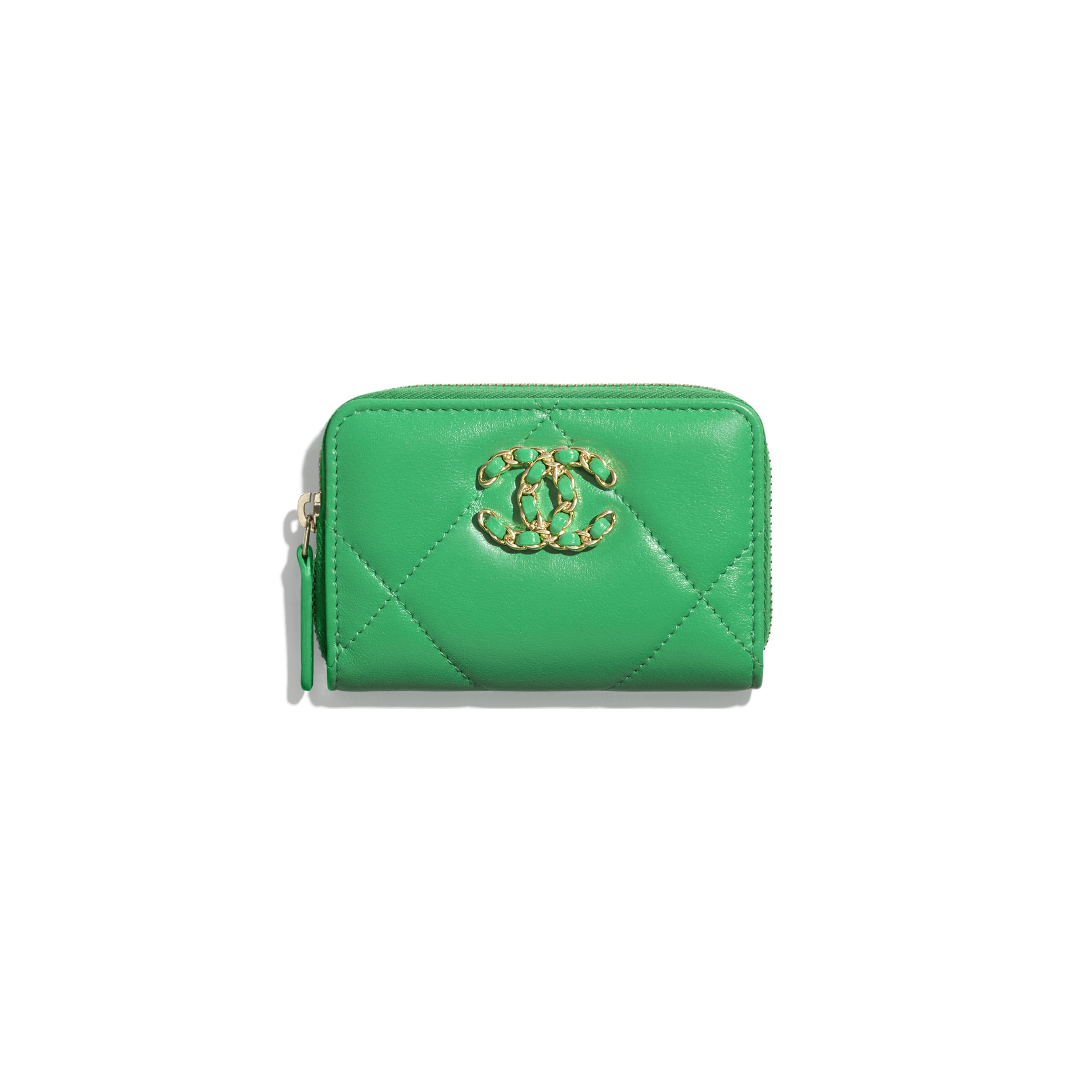 CHANEL 19 Zipped Coin Purse - Green - Lambskin, Gold-Tone, Silver-Tone & Ruthenium-Finish Metal - Default view - see standard sized version