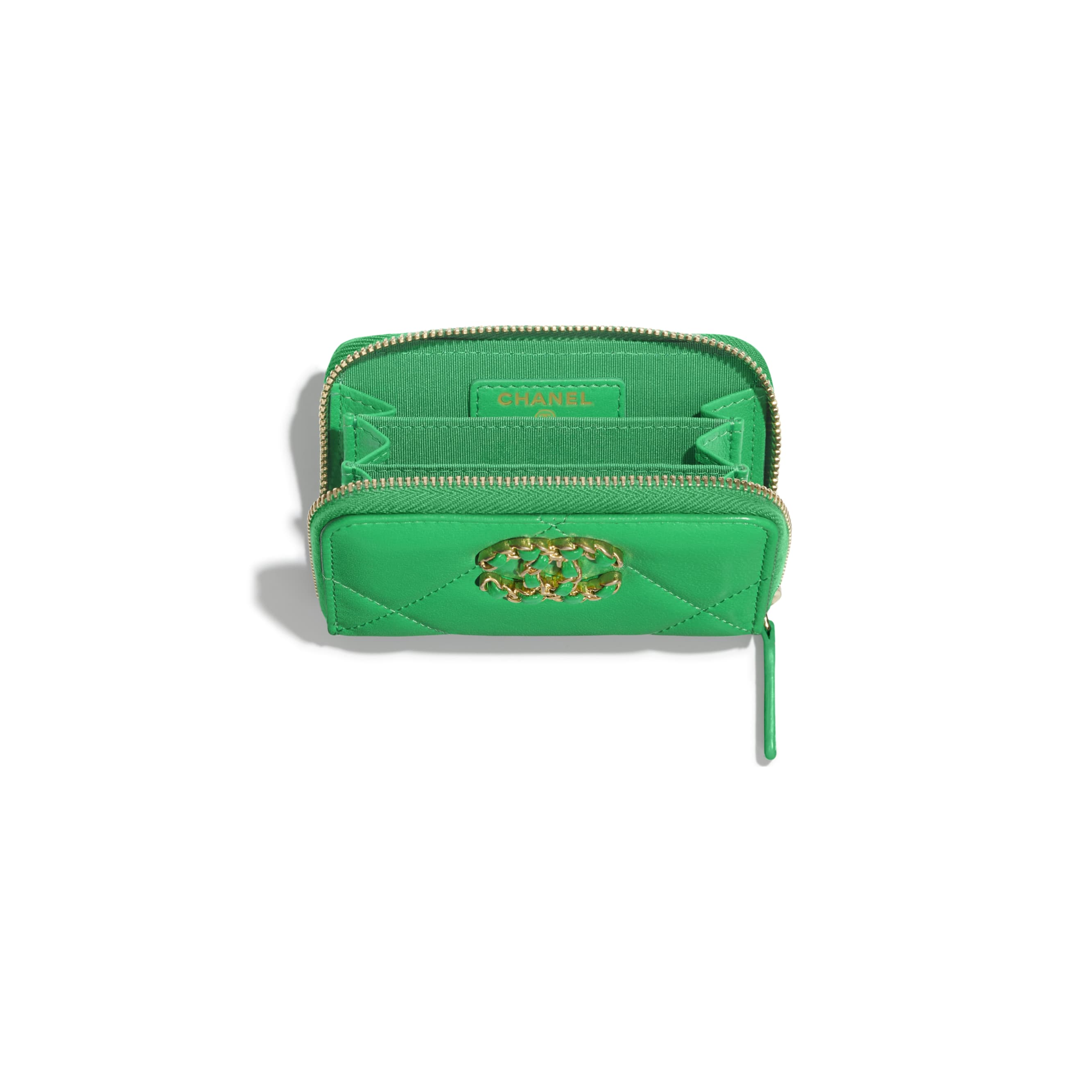 CHANEL 19 Zipped Coin Purse - Green - Lambskin, Gold-Tone, Silver-Tone & Ruthenium-Finish Metal - Other view - see standard sized version