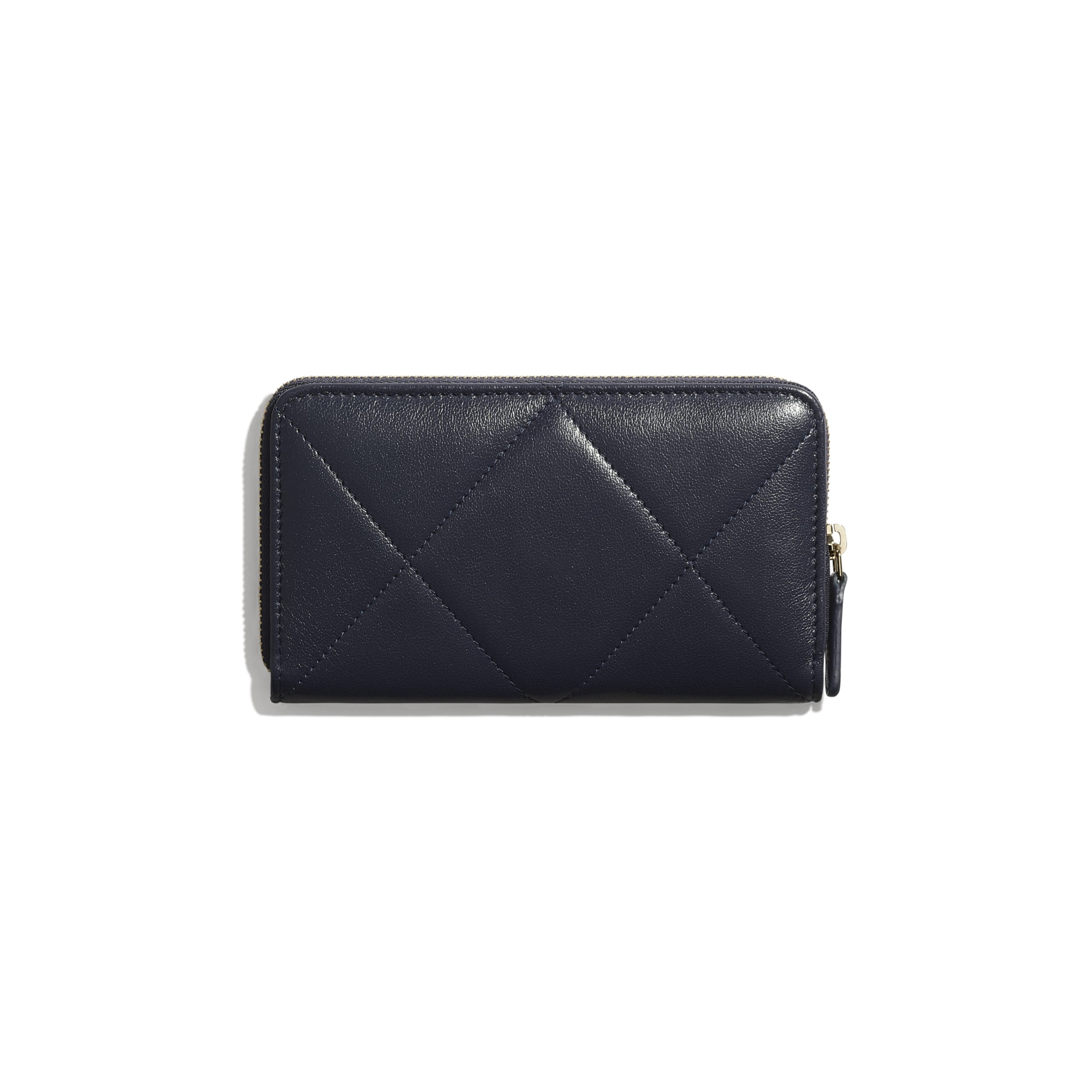 CHANEL 19 Zipped Wallet - Navy Blue - Lambskin, Gold-Tone, Silver-Tone & Ruthenium-Finish Metal - CHANEL - Alternative view - see standard sized version