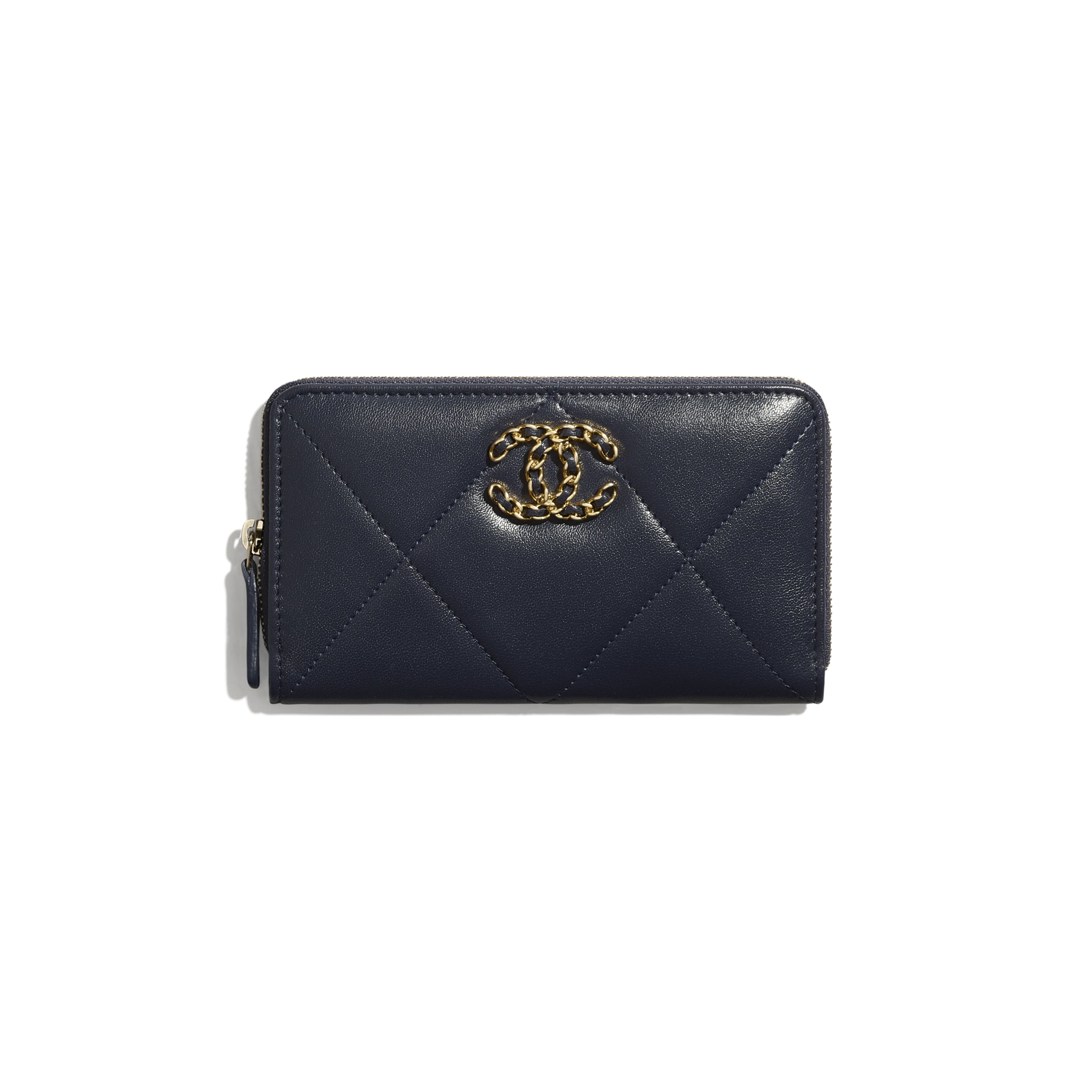 CHANEL 19 Zipped Wallet - Navy Blue - Lambskin, Gold-Tone, Silver-Tone & Ruthenium-Finish Metal - CHANEL - Default view - see standard sized version