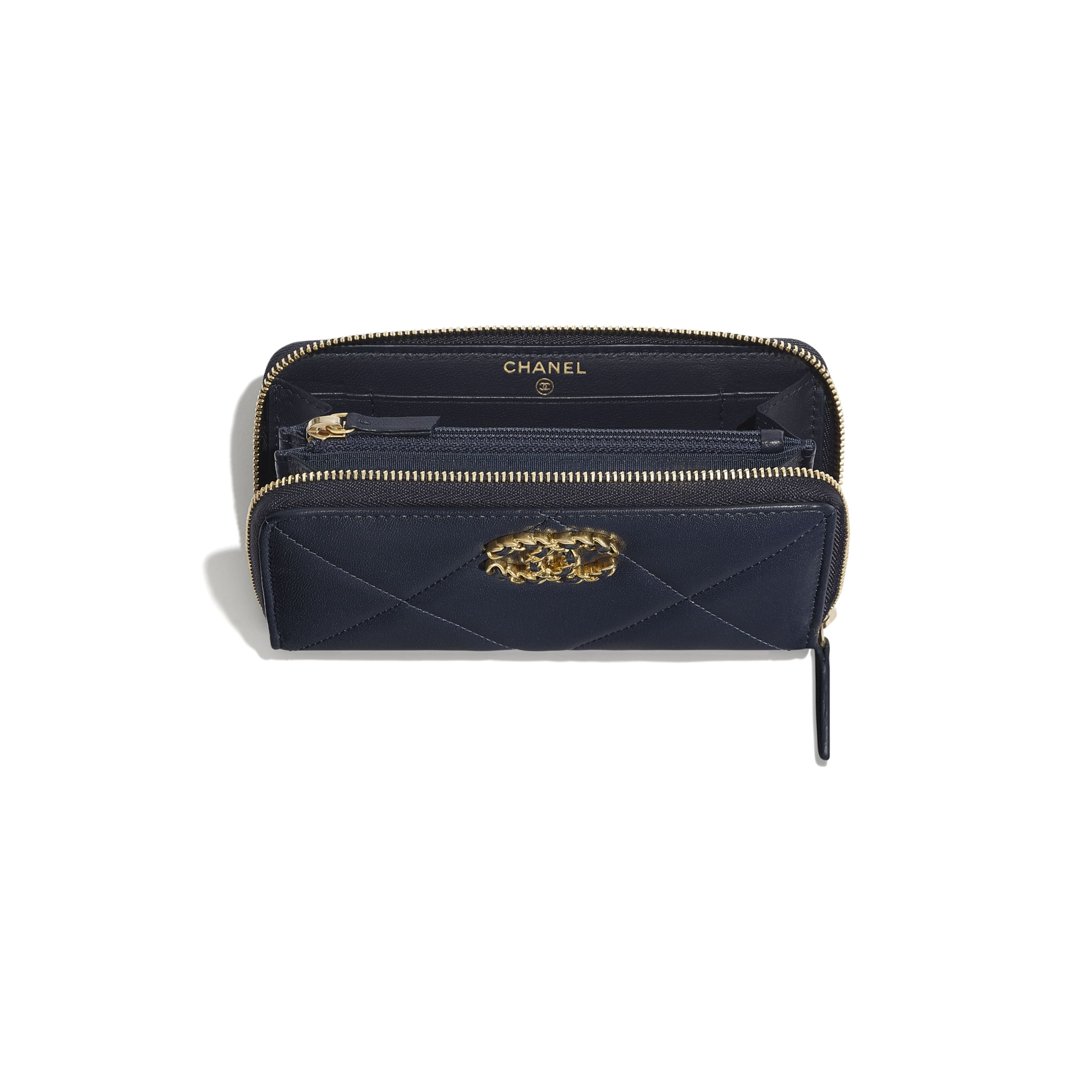 CHANEL 19 Zipped Wallet - Navy Blue - Lambskin, Gold-Tone, Silver-Tone & Ruthenium-Finish Metal - Other view - see standard sized version
