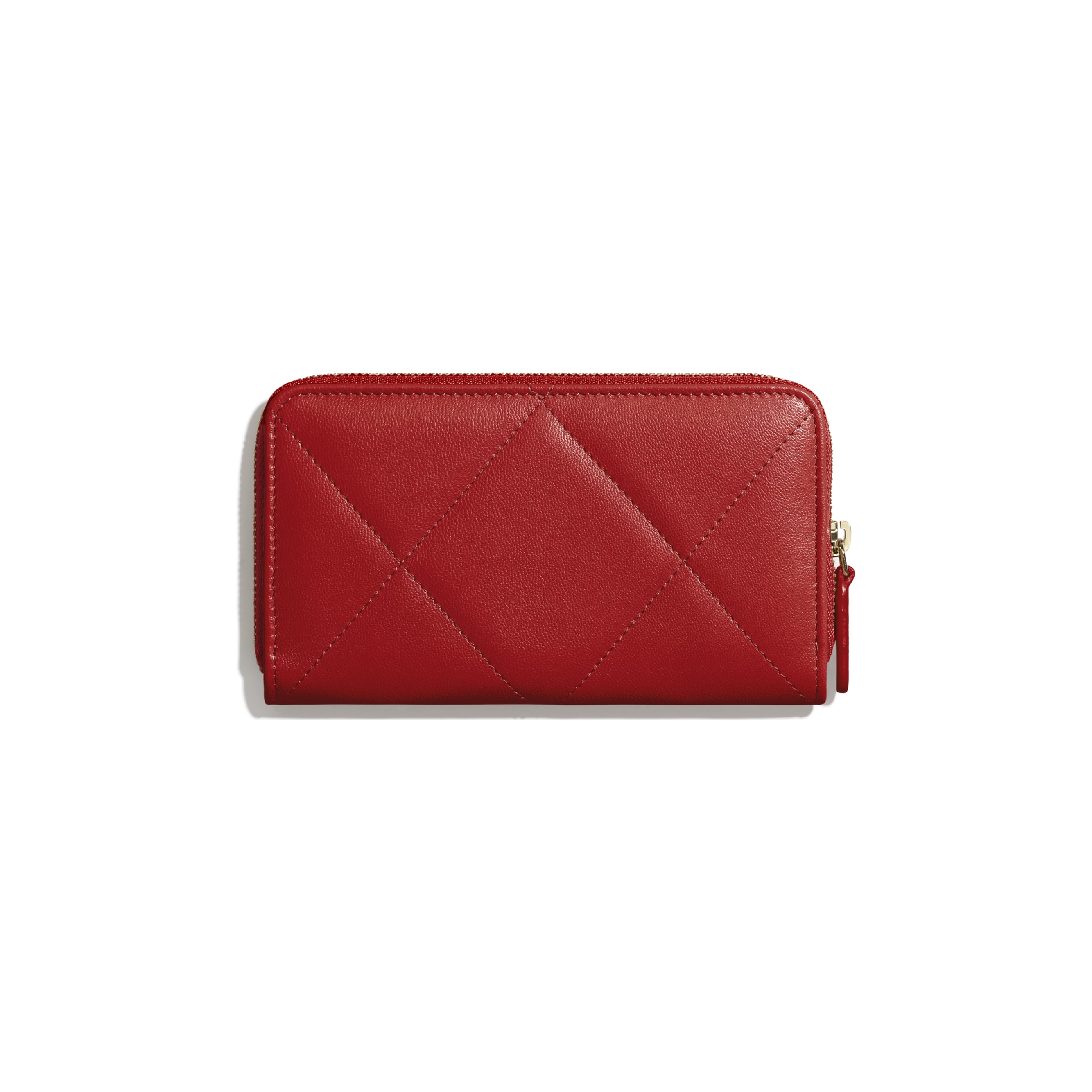 CHANEL 19 Zipped Wallet - Red - Shiny Goatskin, Gold-Tone, Silver-Tone & Ruthenium-Finish Metal - Alternative view - see standard sized version
