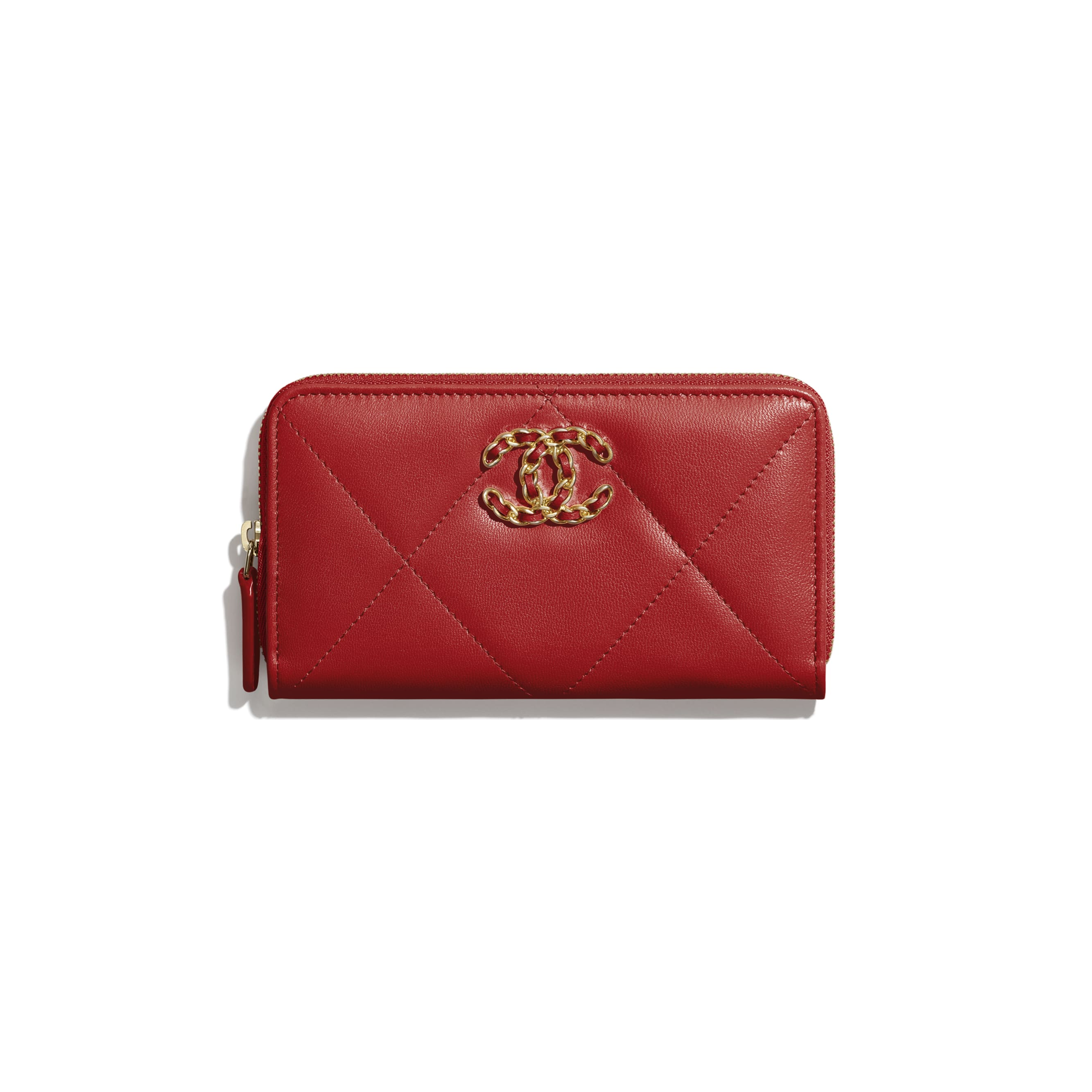CHANEL 19 Zipped Wallet - Red - Shiny Goatskin, Gold-Tone, Silver-Tone & Ruthenium-Finish Metal - Default view - see standard sized version